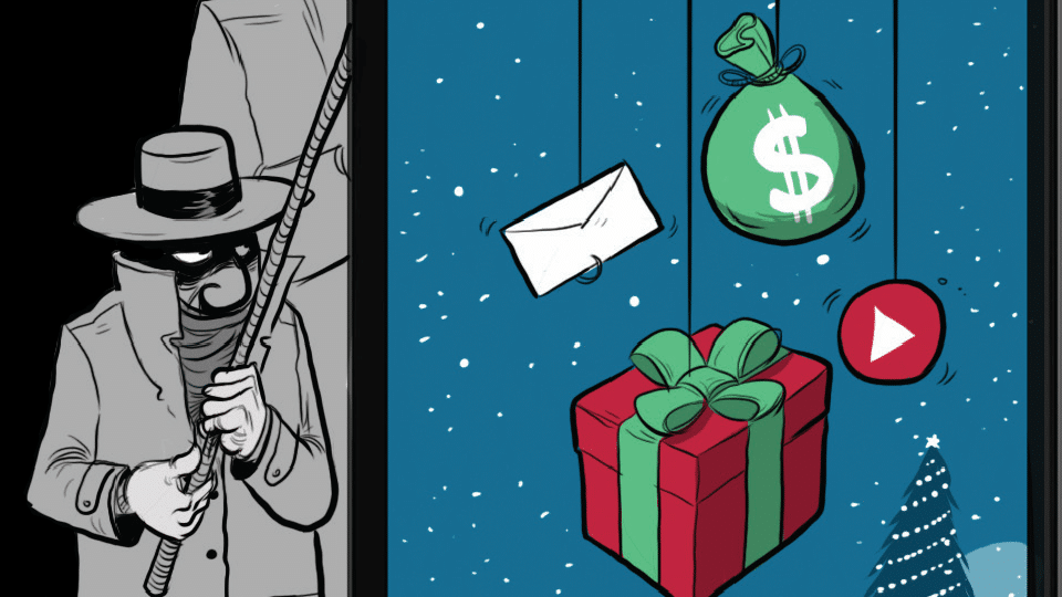 Robber fishing for gifts