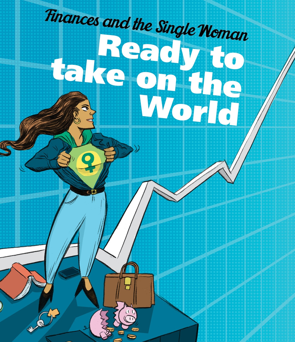 Illustraton of super woman with text Ready to Take On the World