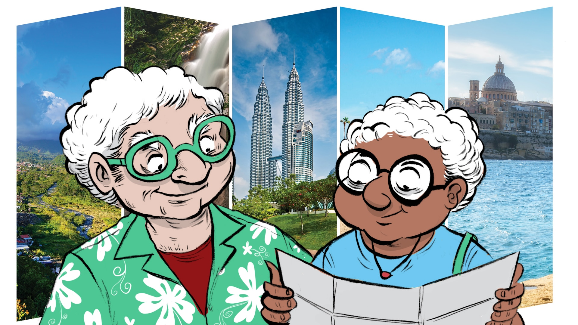 Illustration of retired couple looking at map