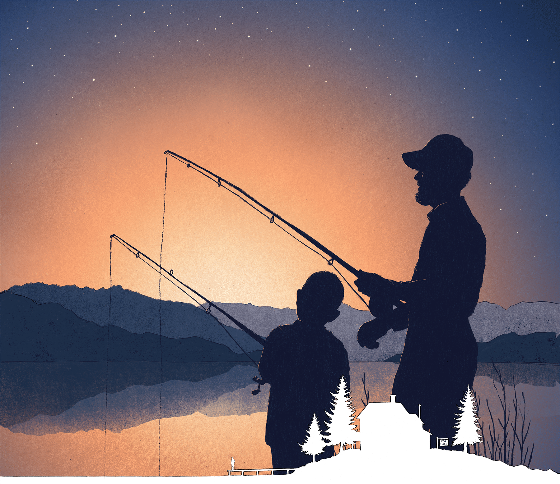 silhouette of man and child fishing