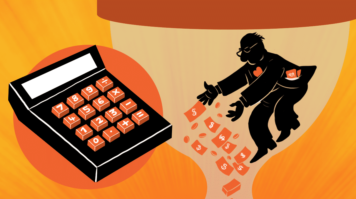 Illustration of man giving money beside calculator
