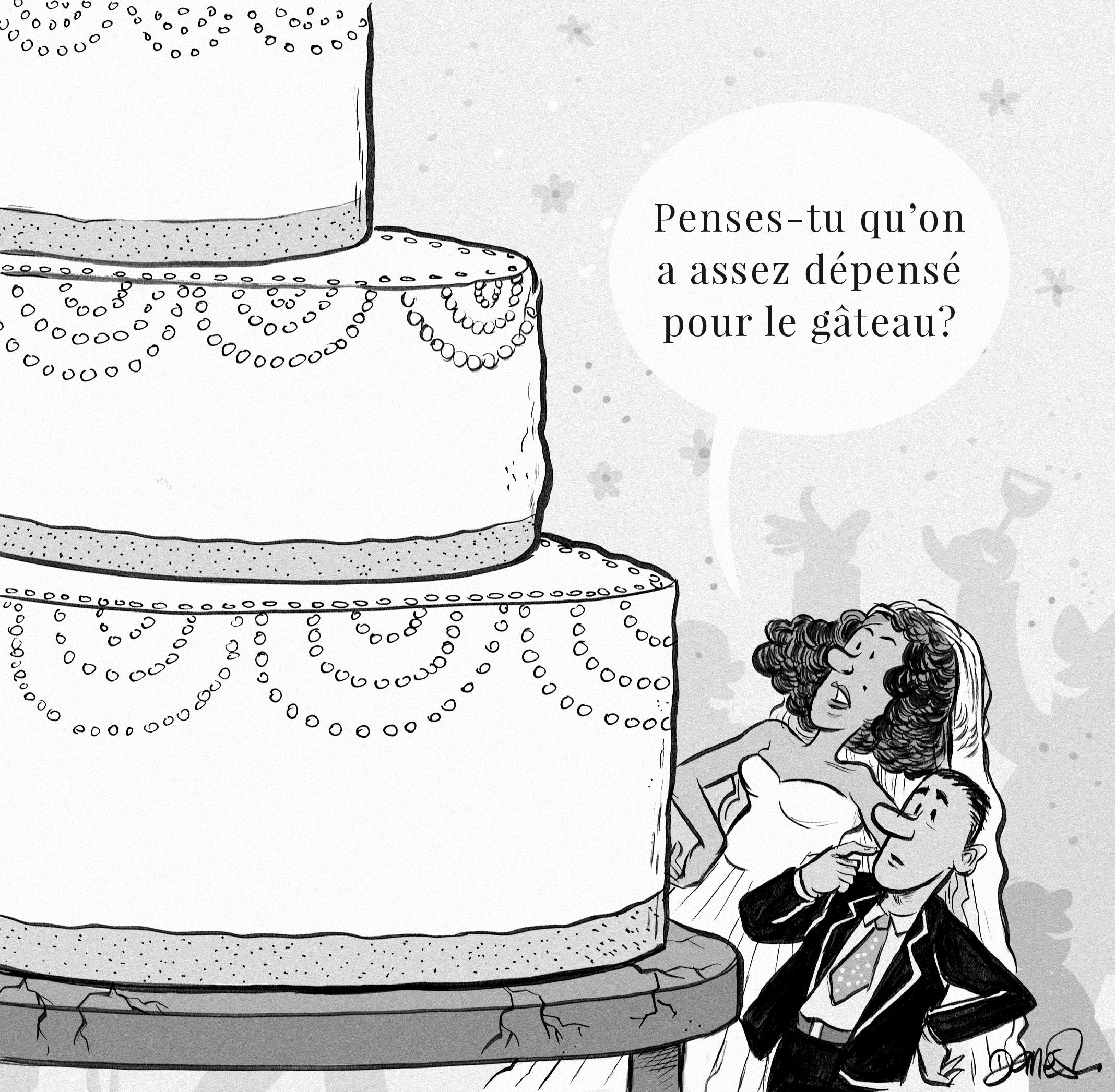 Illustration of couple standing beside giant cake