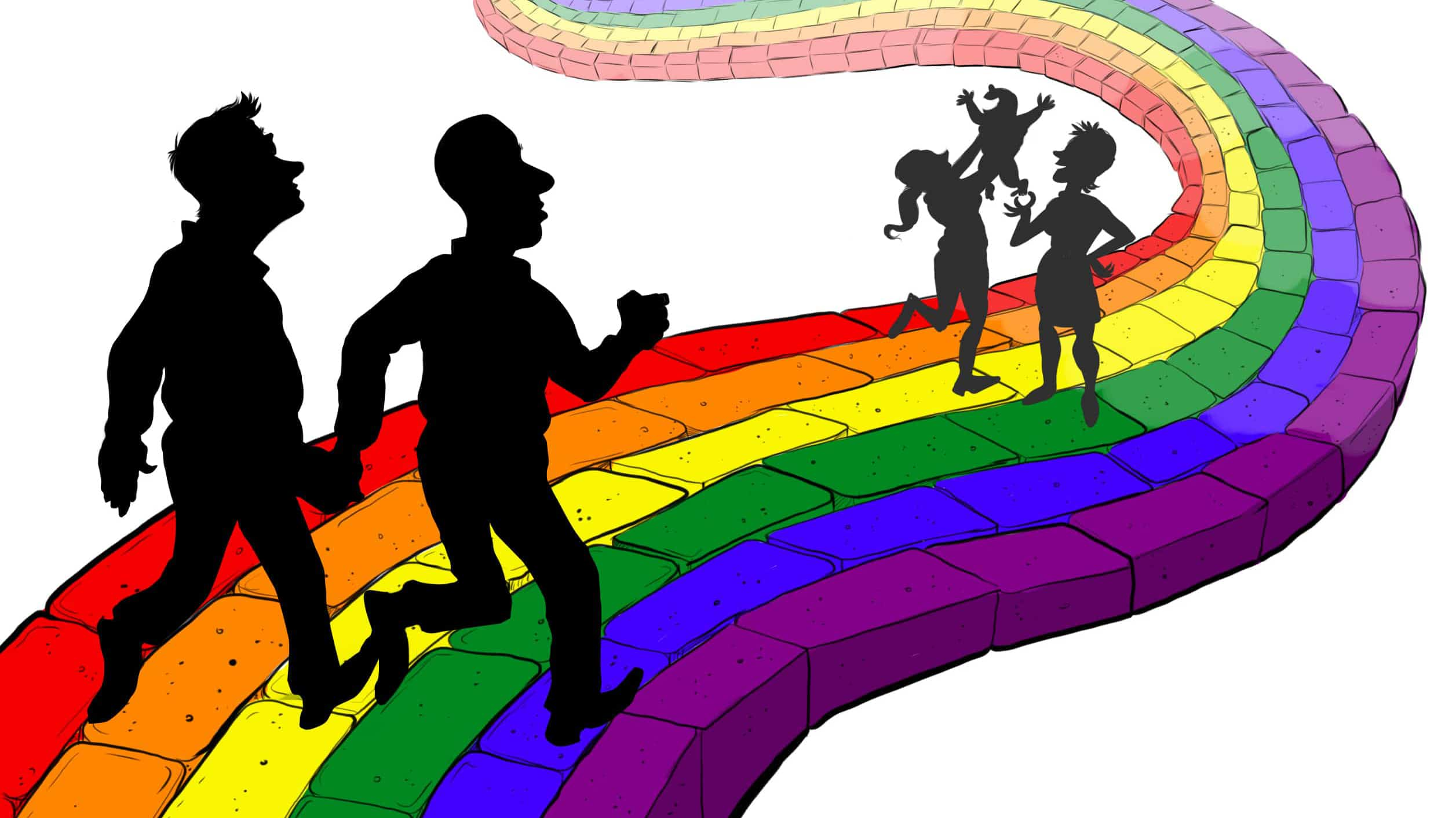 A cartoon illustration of gay men and women couples with small children walking on a rainbow brick road.