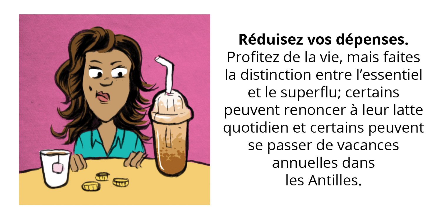 Illustration of woman looking at beverages