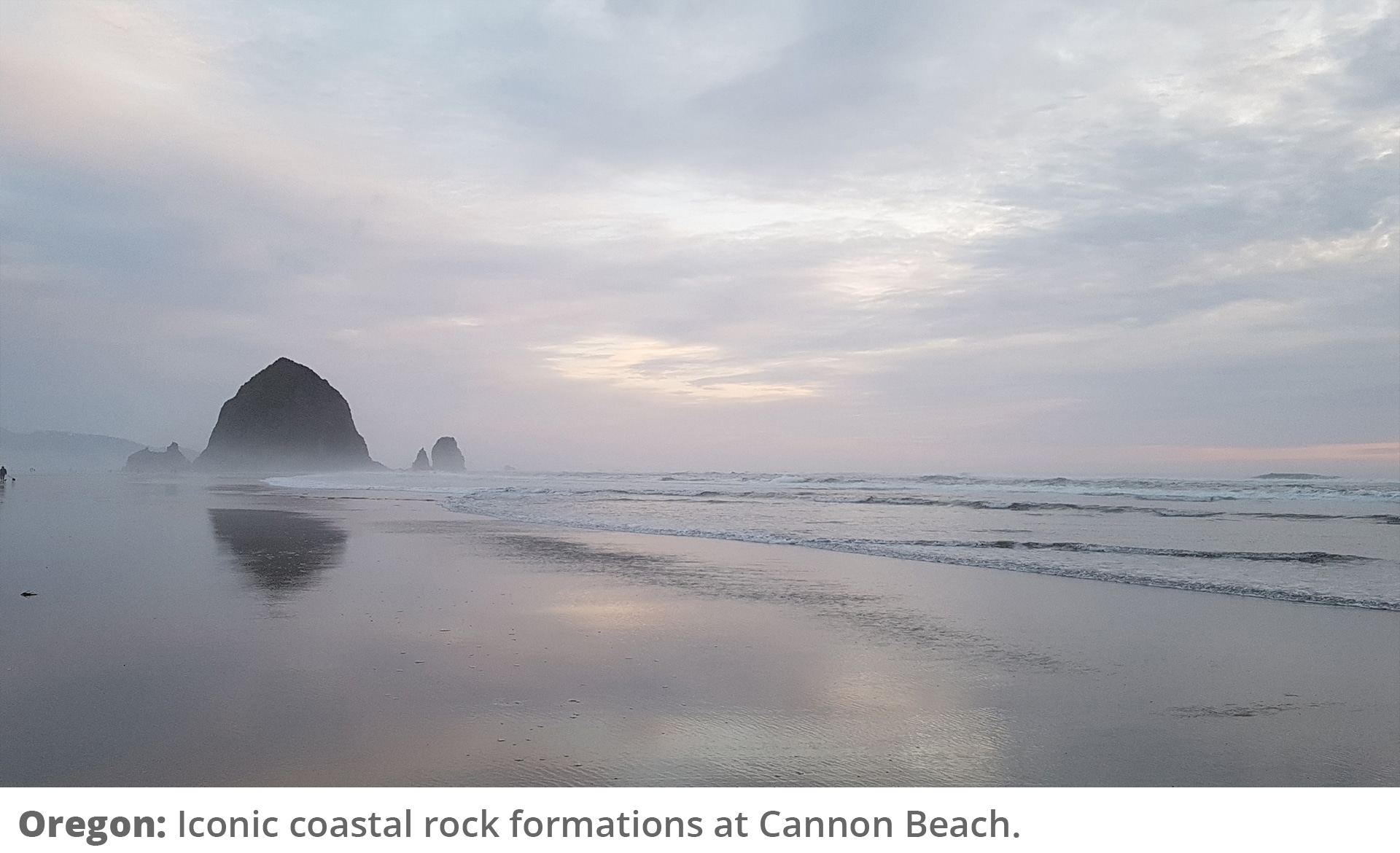 Honeymoon Road Trip - Rock formations in Cannon Beach