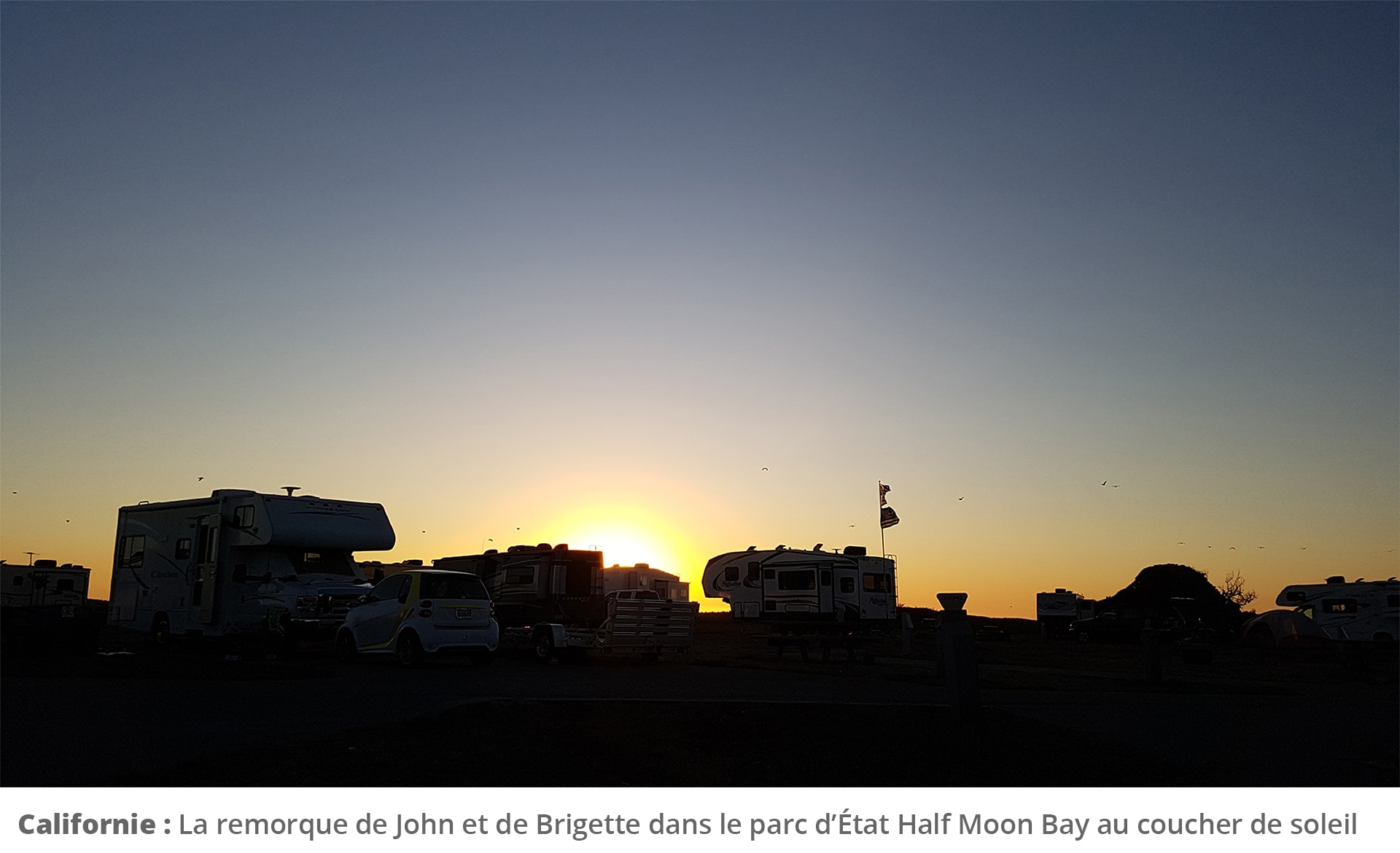 Trailers in sunset