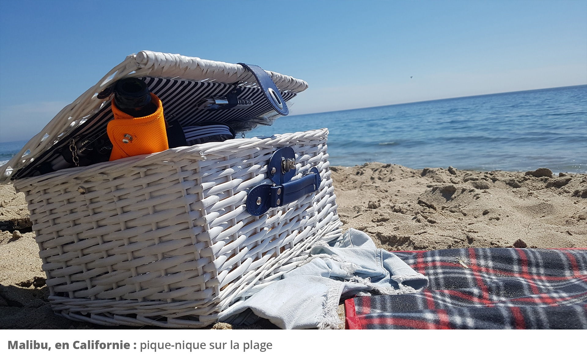 Picture of picnic basket on beach
