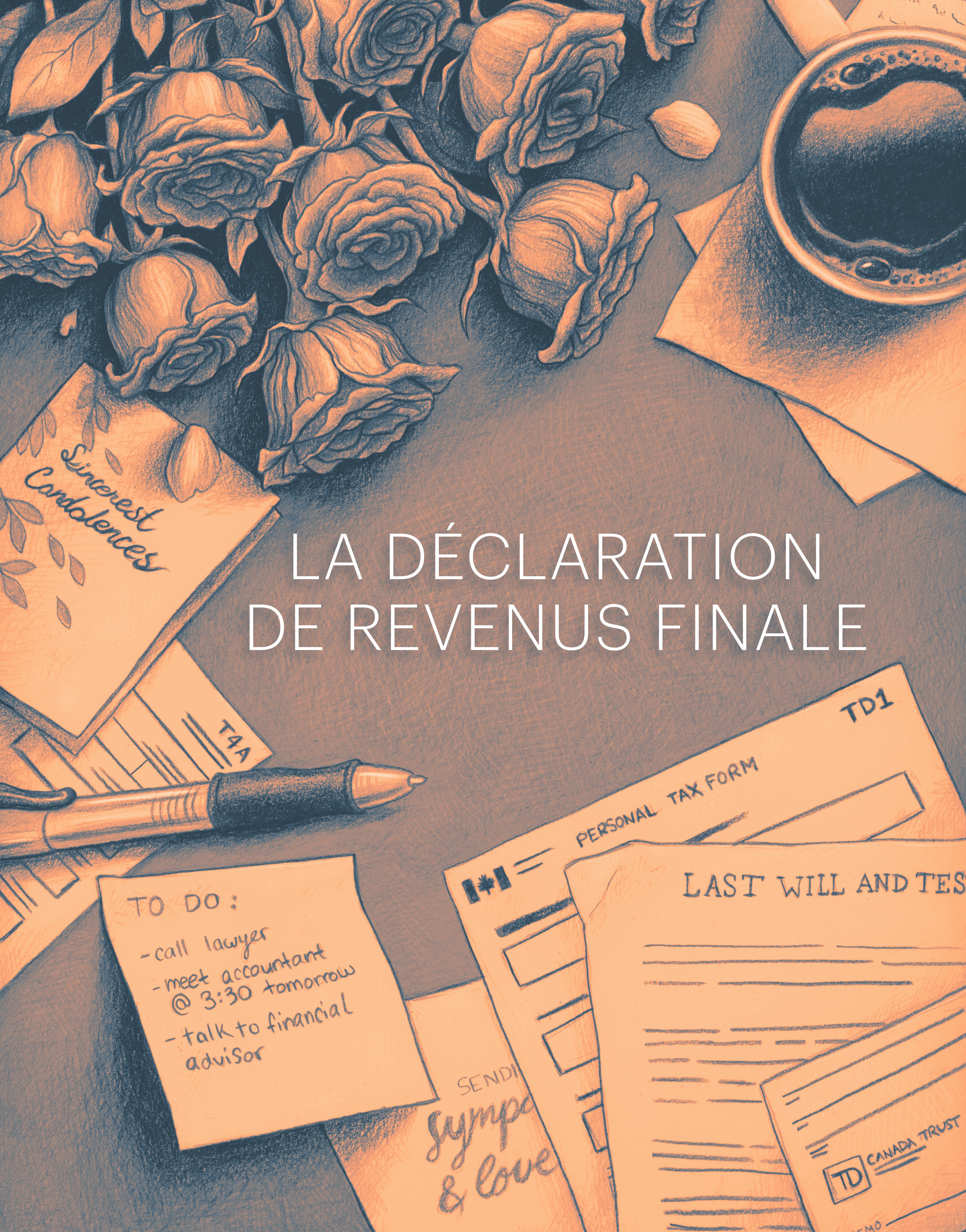 Illustration of forms and letters with text overlay la declaration de revenus finale