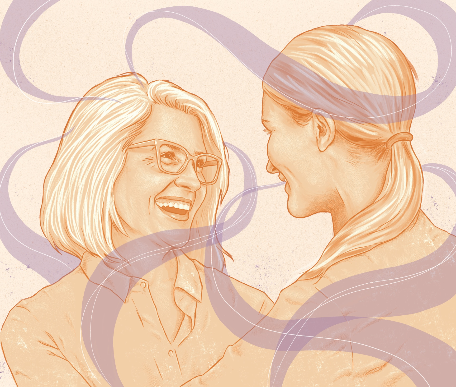 Illustration of mother and daughter