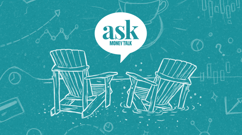 Illustration of two Muskoka chairs with text reading ask MoneyTalk