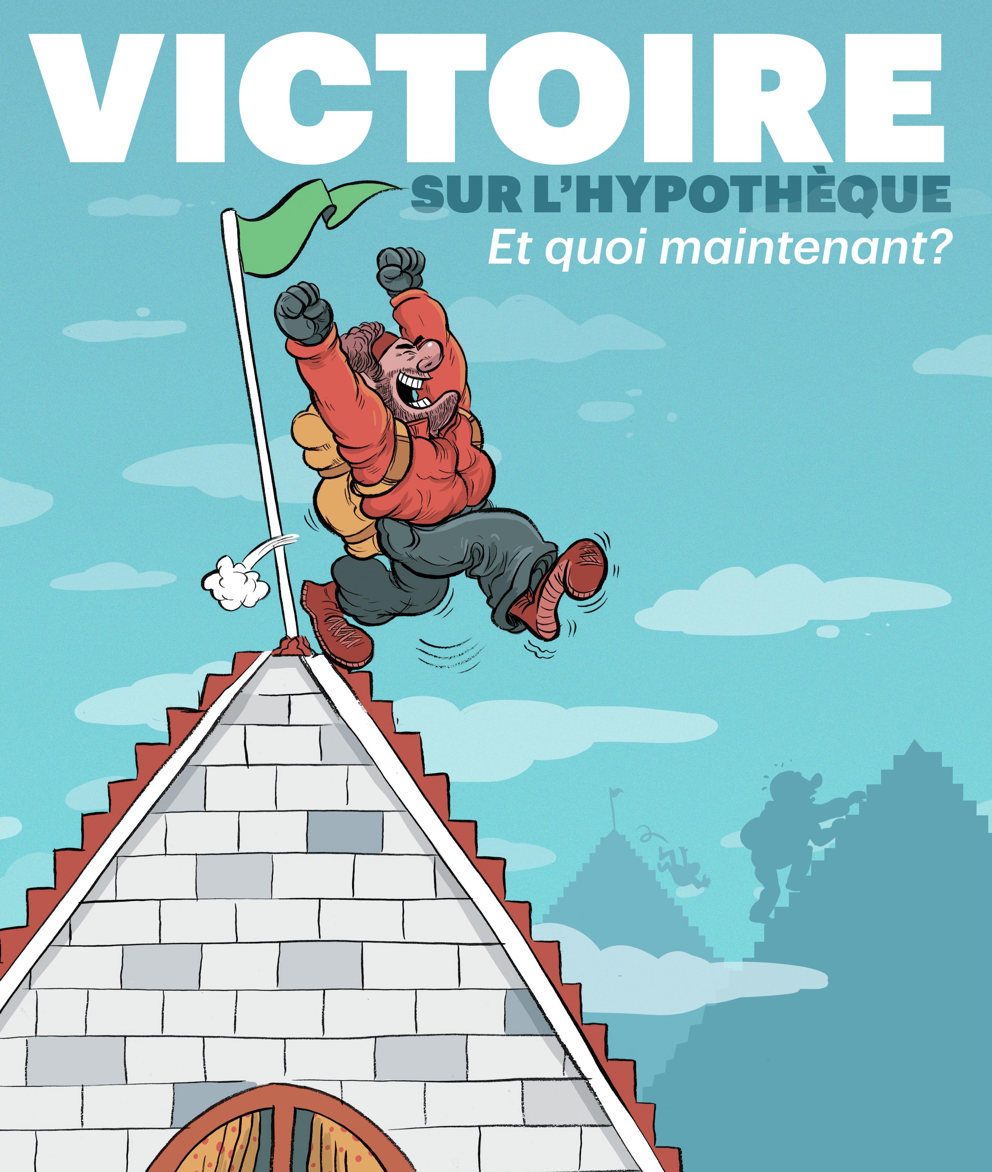 Illustration of man climbing house