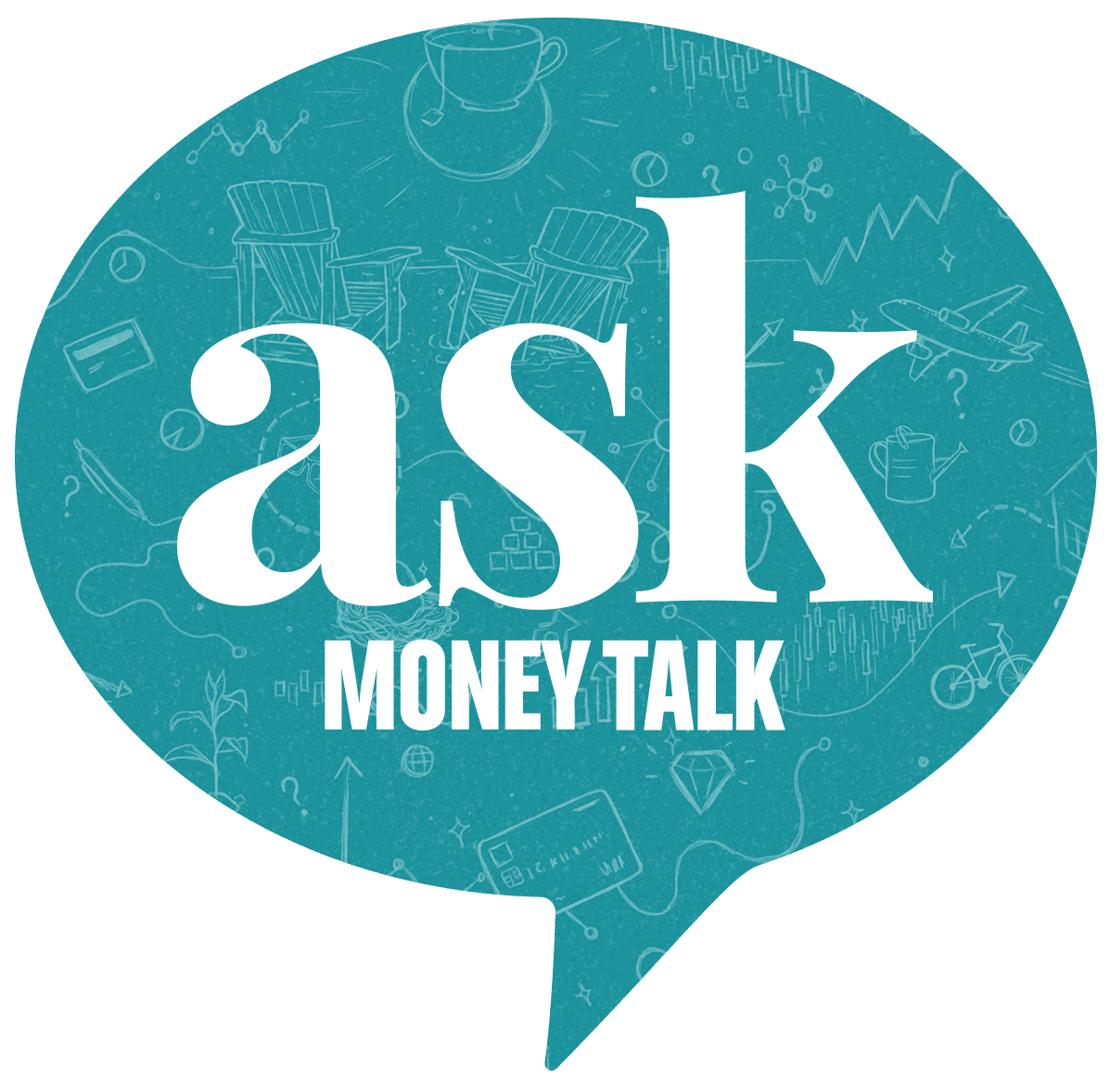 Speech bubble with the words Ask Money Talk inside