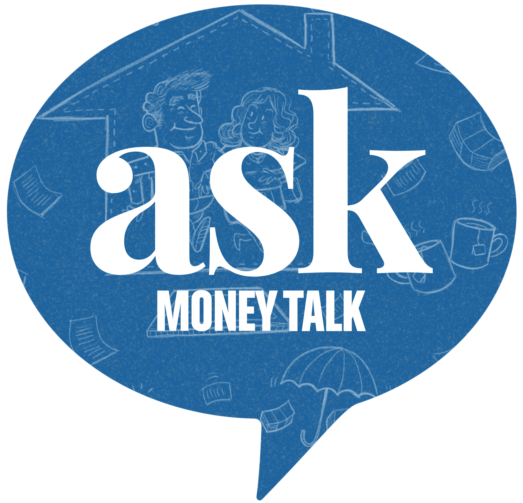 Askmoneytalk logo with happy older couple walking trhough a house