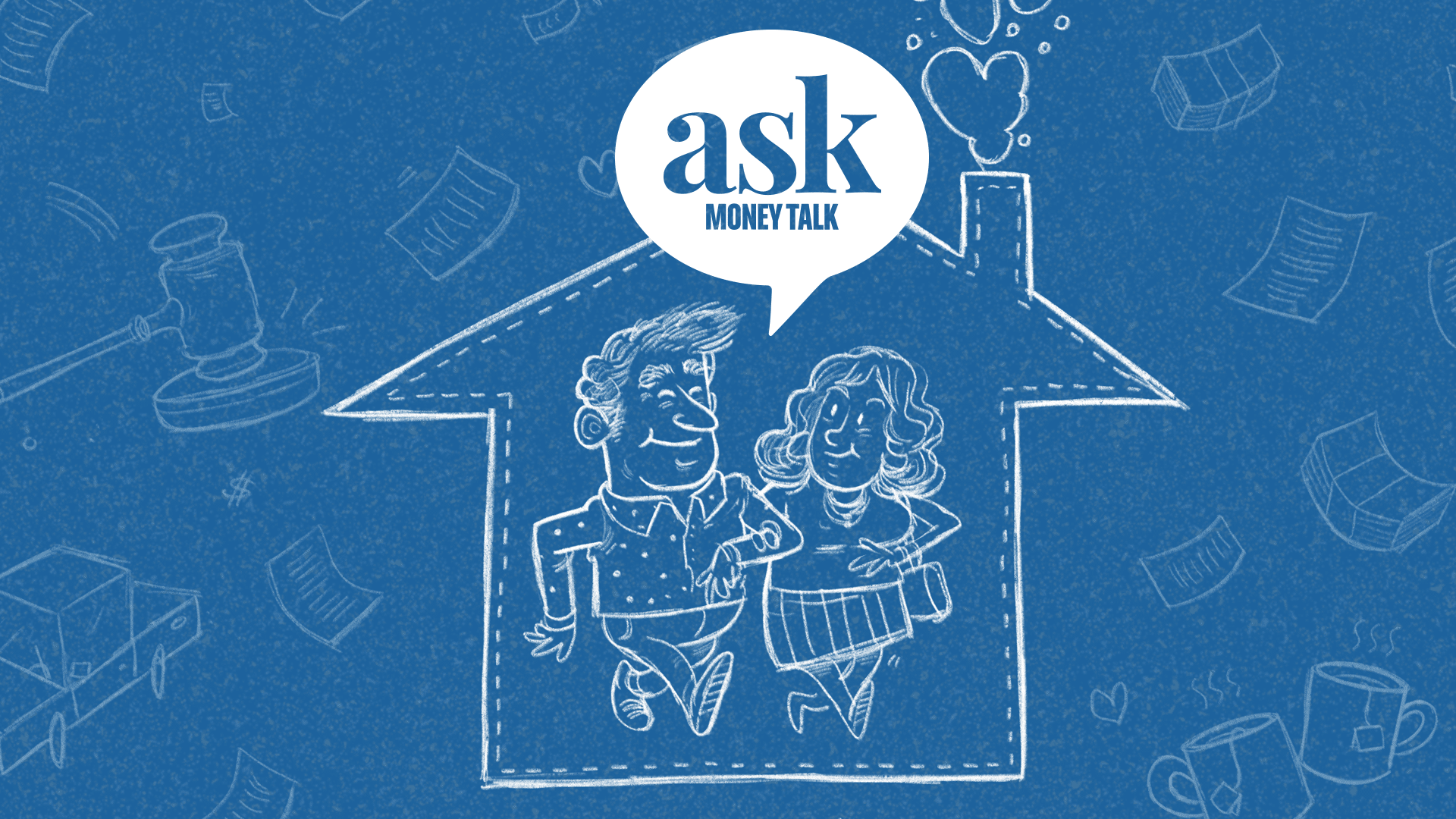 Happy couple in a house surrounded by money, with askmoneytalk logo