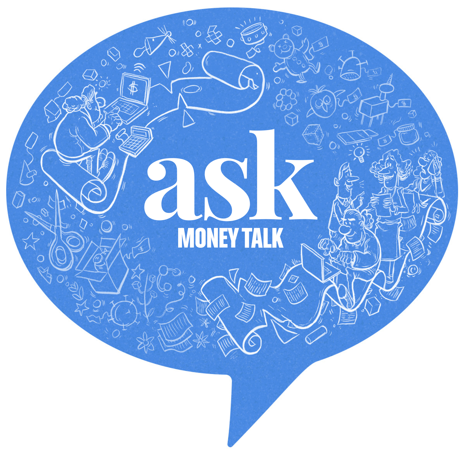 A image of the Ask MoneyTalk logo with images of people working in small businesses
