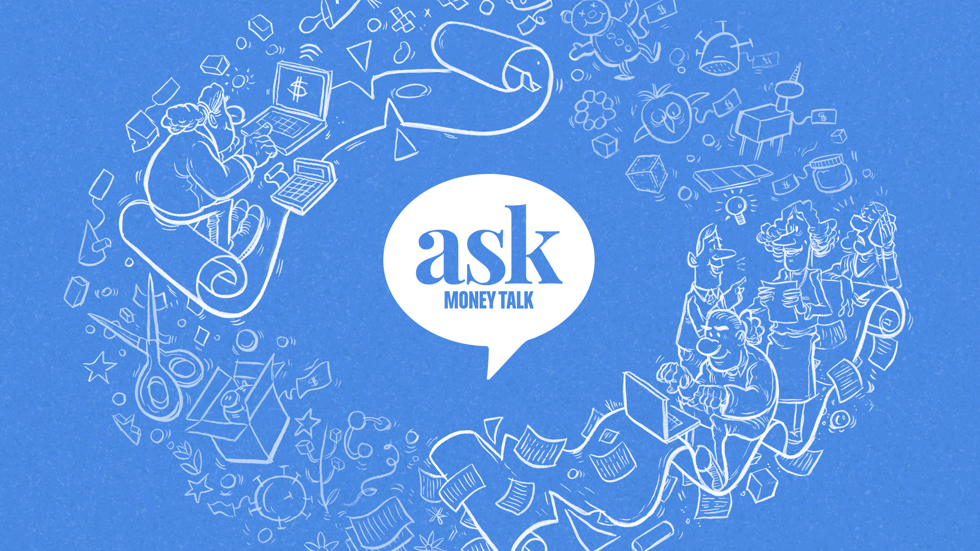 An image of the Ask MoneyTalk logo with images of people working in different small businesses