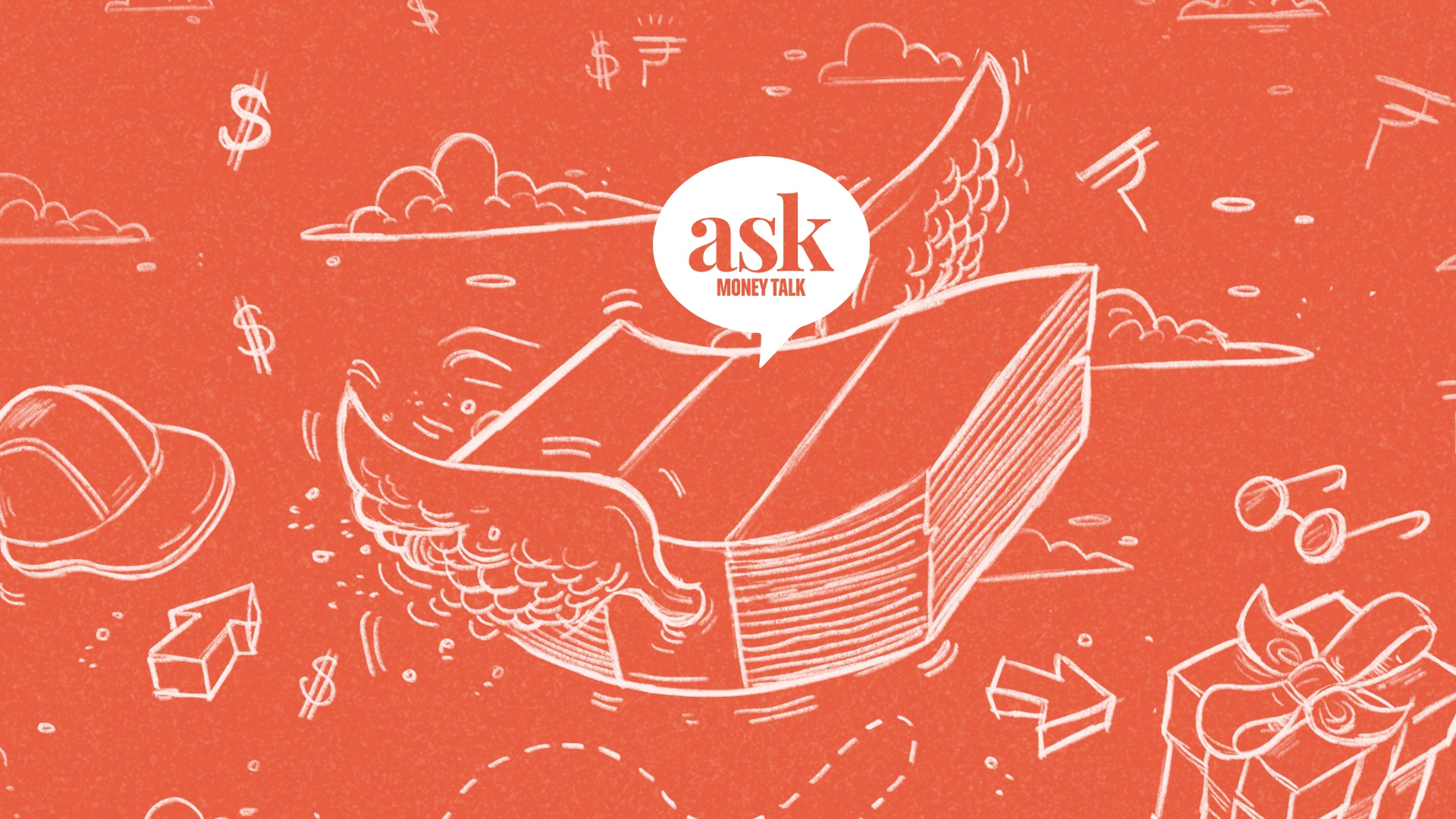 An Illustration of a stash of money with wings with askmoneytalk logo