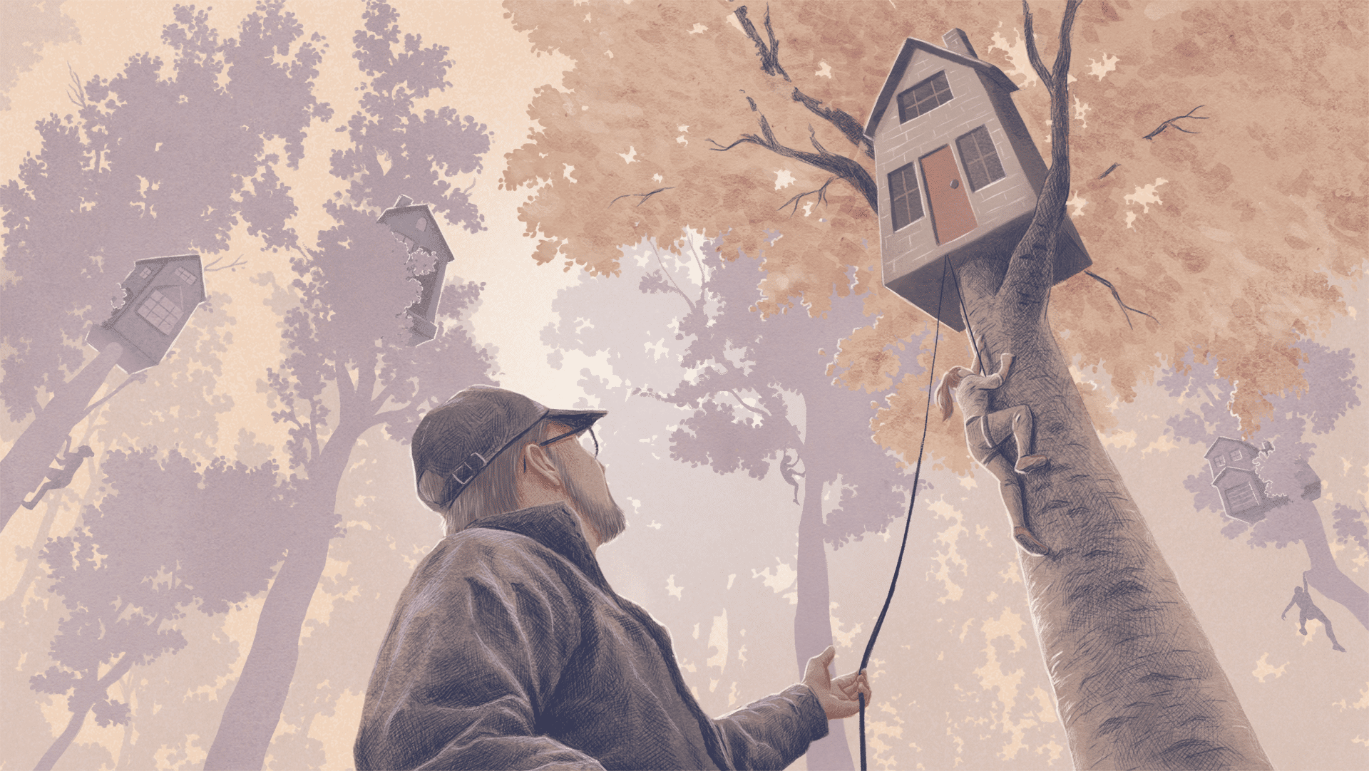 illustration of man by the tree house