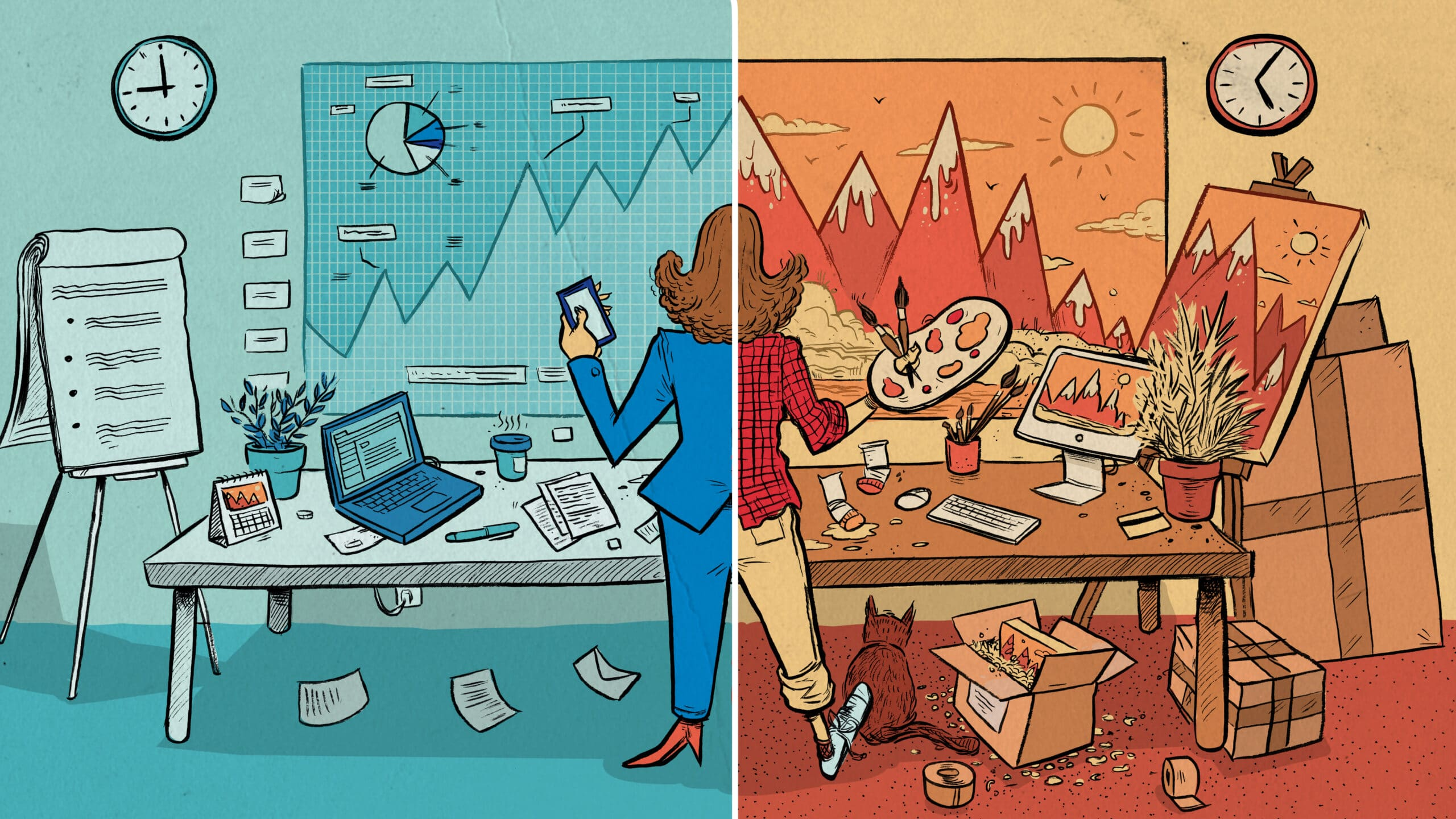 Illustration of Woman with two different professions for the story side hustlers
