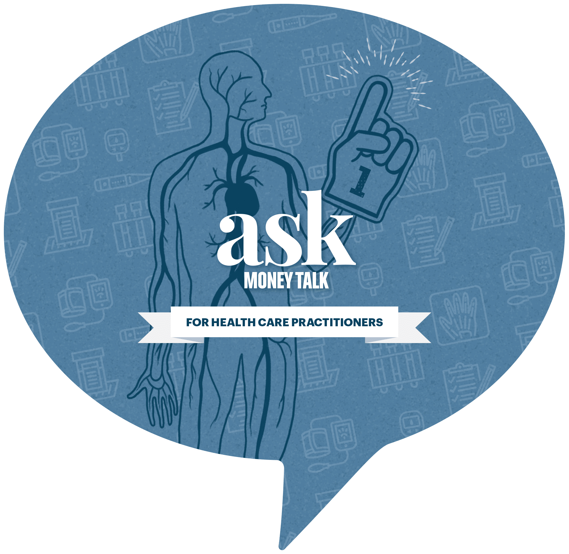 AskMoneyTalk logo with medical diagram