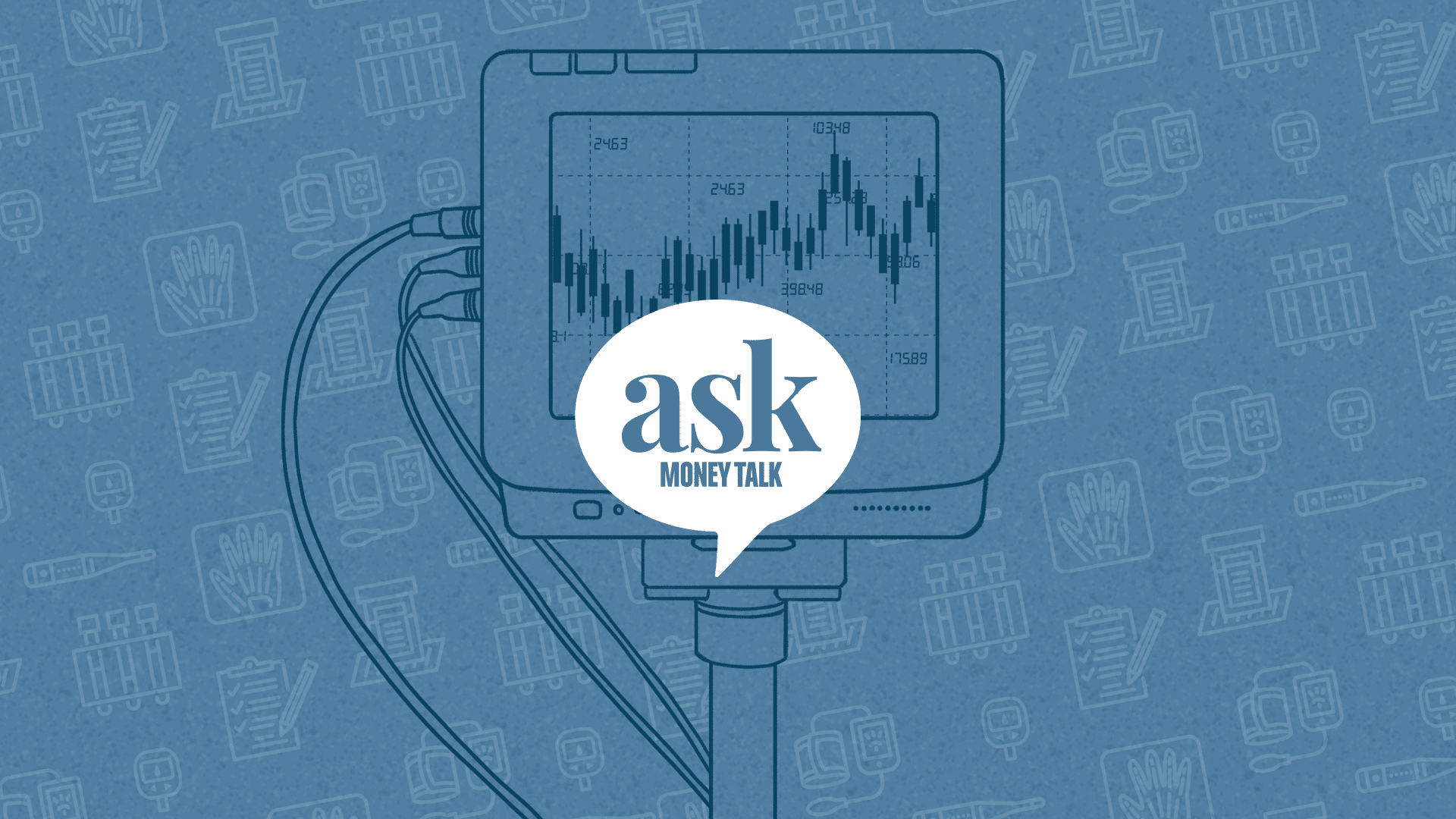 Ask MoneyTalk logo with a health monitor