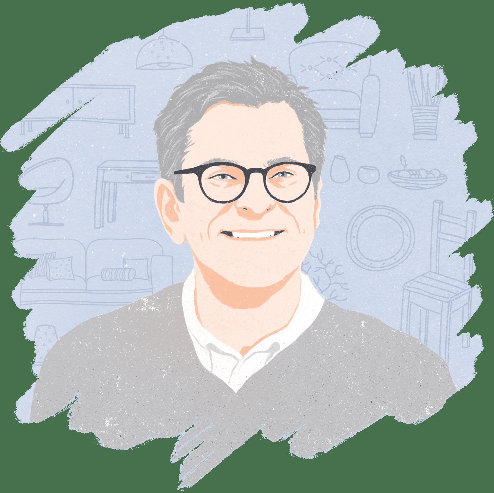 Illustrated portrait of Brian Gluckstein