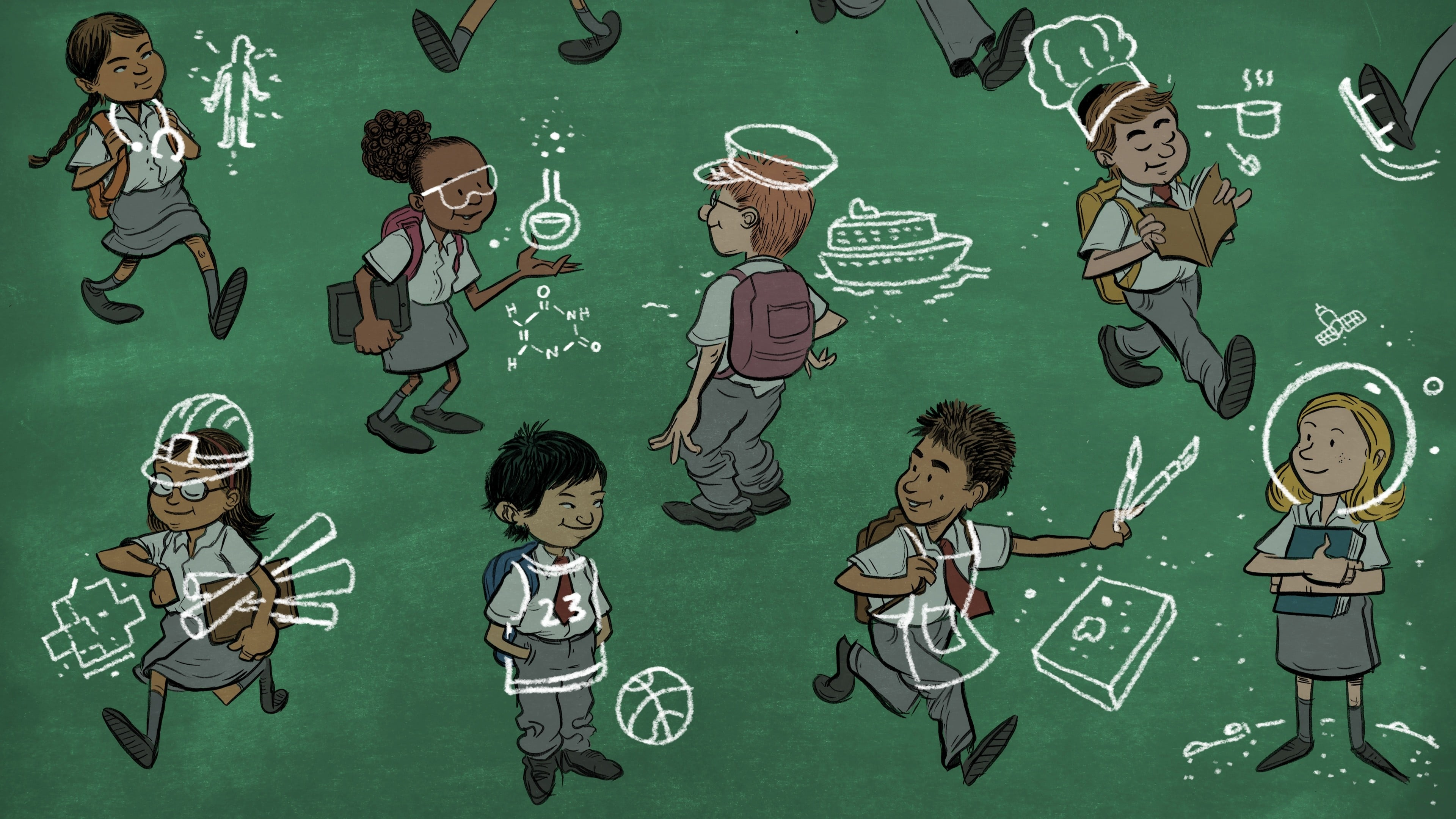 illustration of private school students that have different dream professions