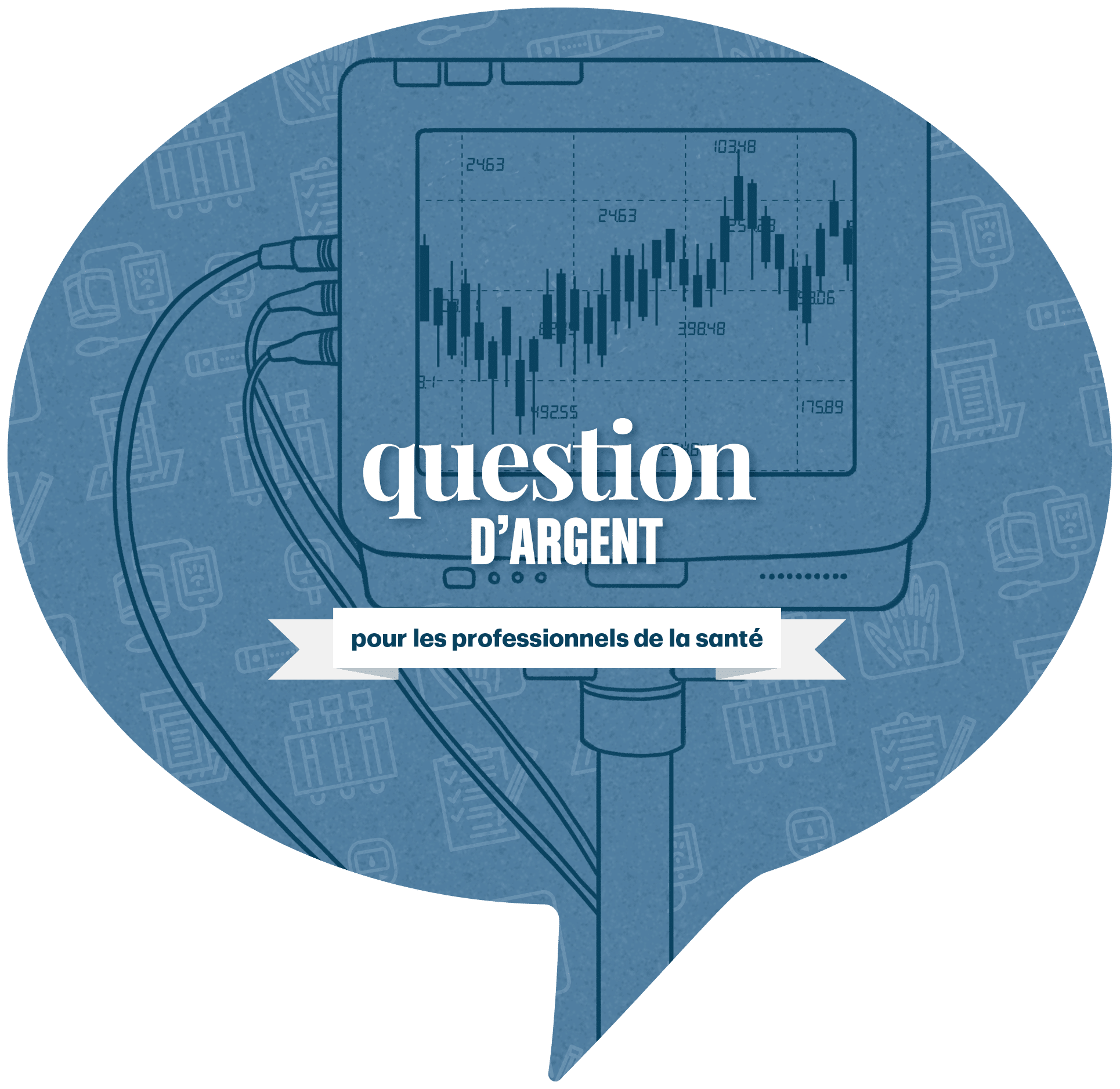 French Ask MoneyTalk logo with a health monitor