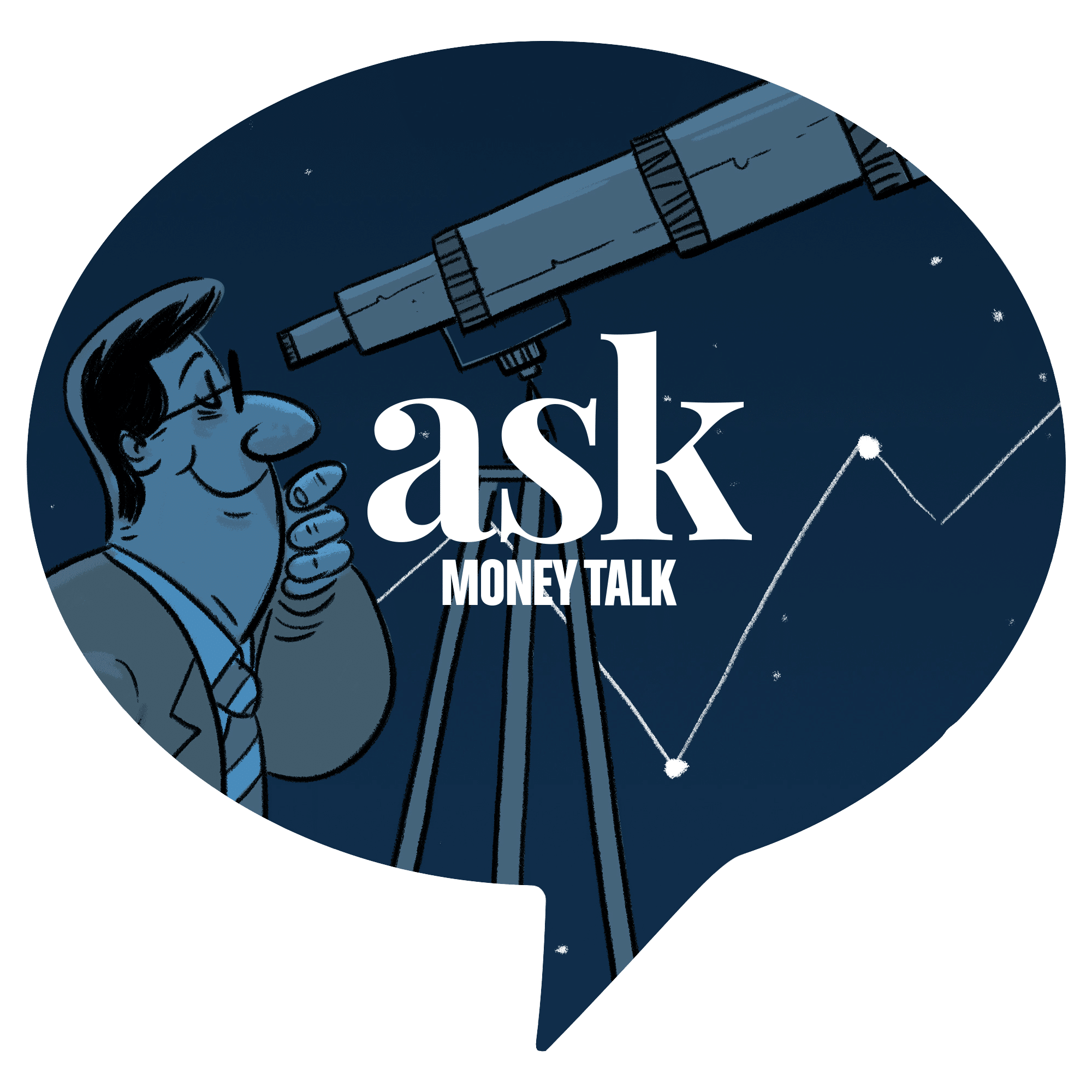 illustration of man looking into space with a telescope with askmoneytalk logo