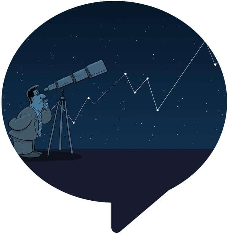 man looking through a telescope with an upward stock chart