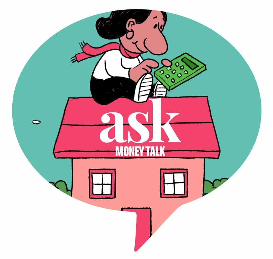 Illustration of a girl with a calculator sitting on top of house, with ask moneytalk logo