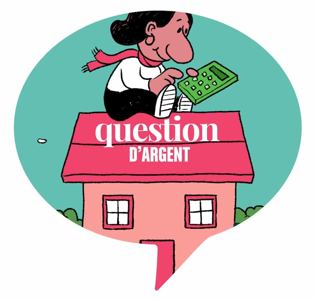Illustration of a girl with a calculator sitting on top of house, with ask moneytalk french logo