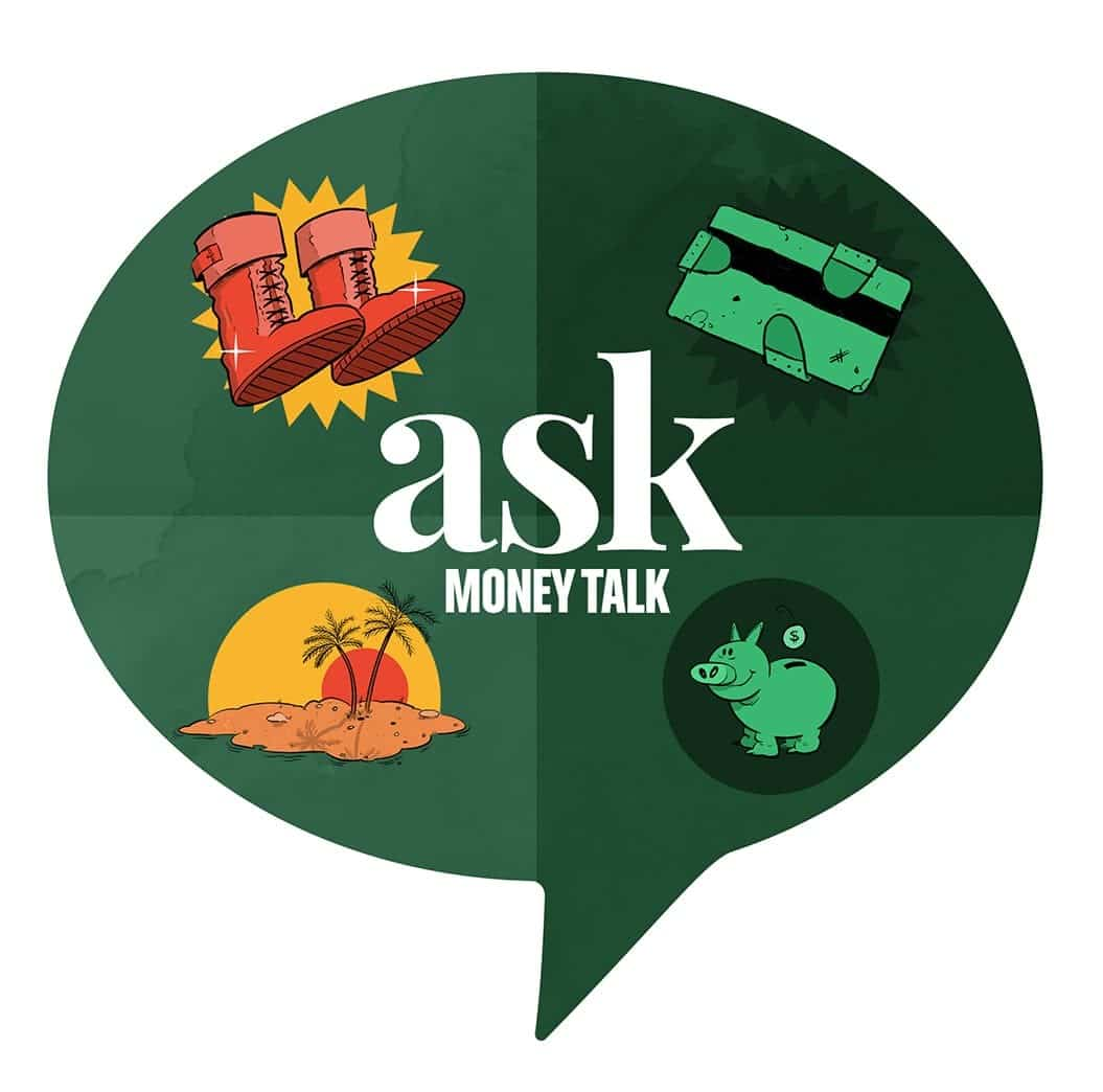 illustrations of new boots, broken credit card, vacation, and piggy bank with the askmoneytalk logo