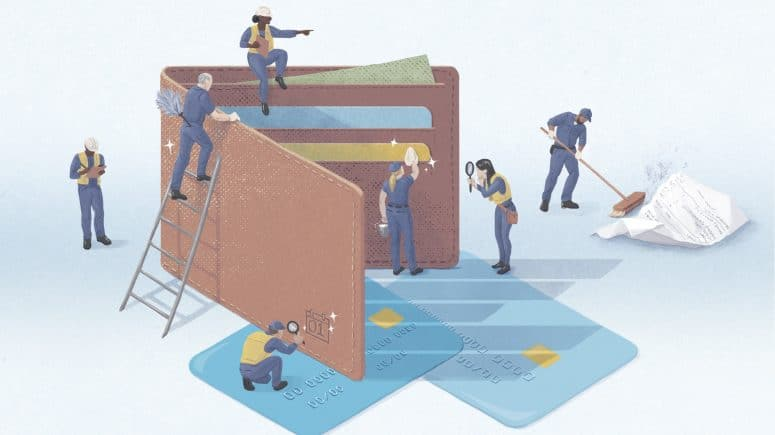 illustration of people inspecting a giant wallet