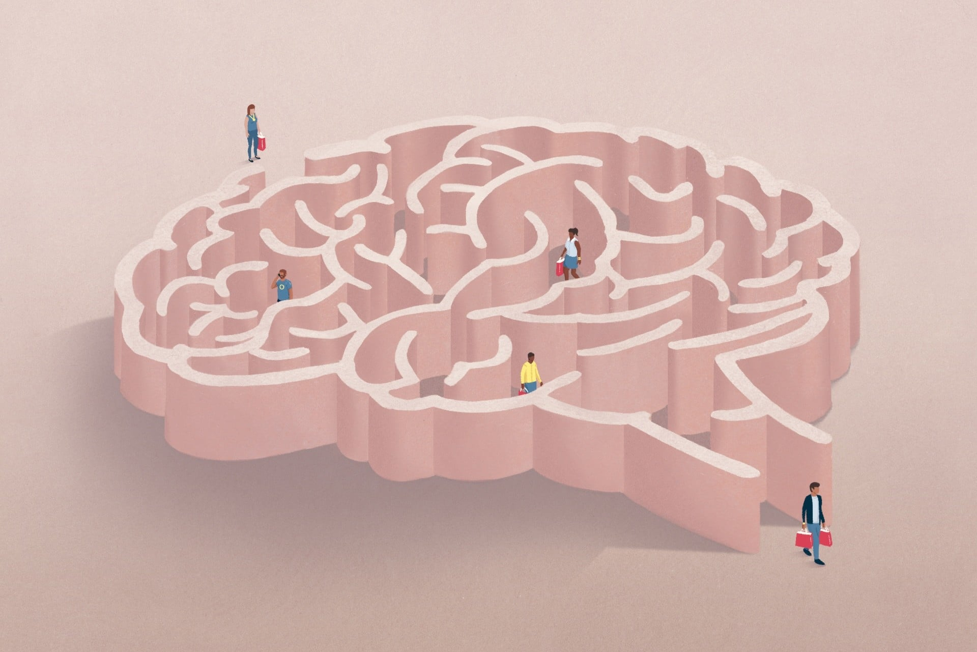 people with shopping bags in a brain shape figure