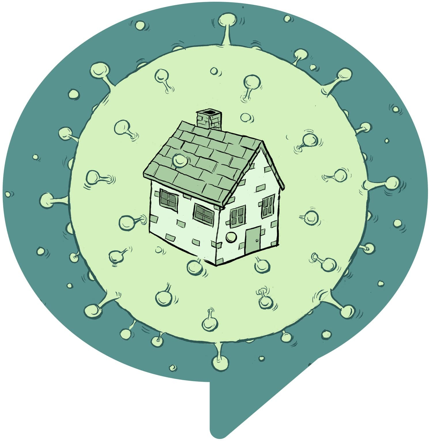 illustration of a house inside a virus