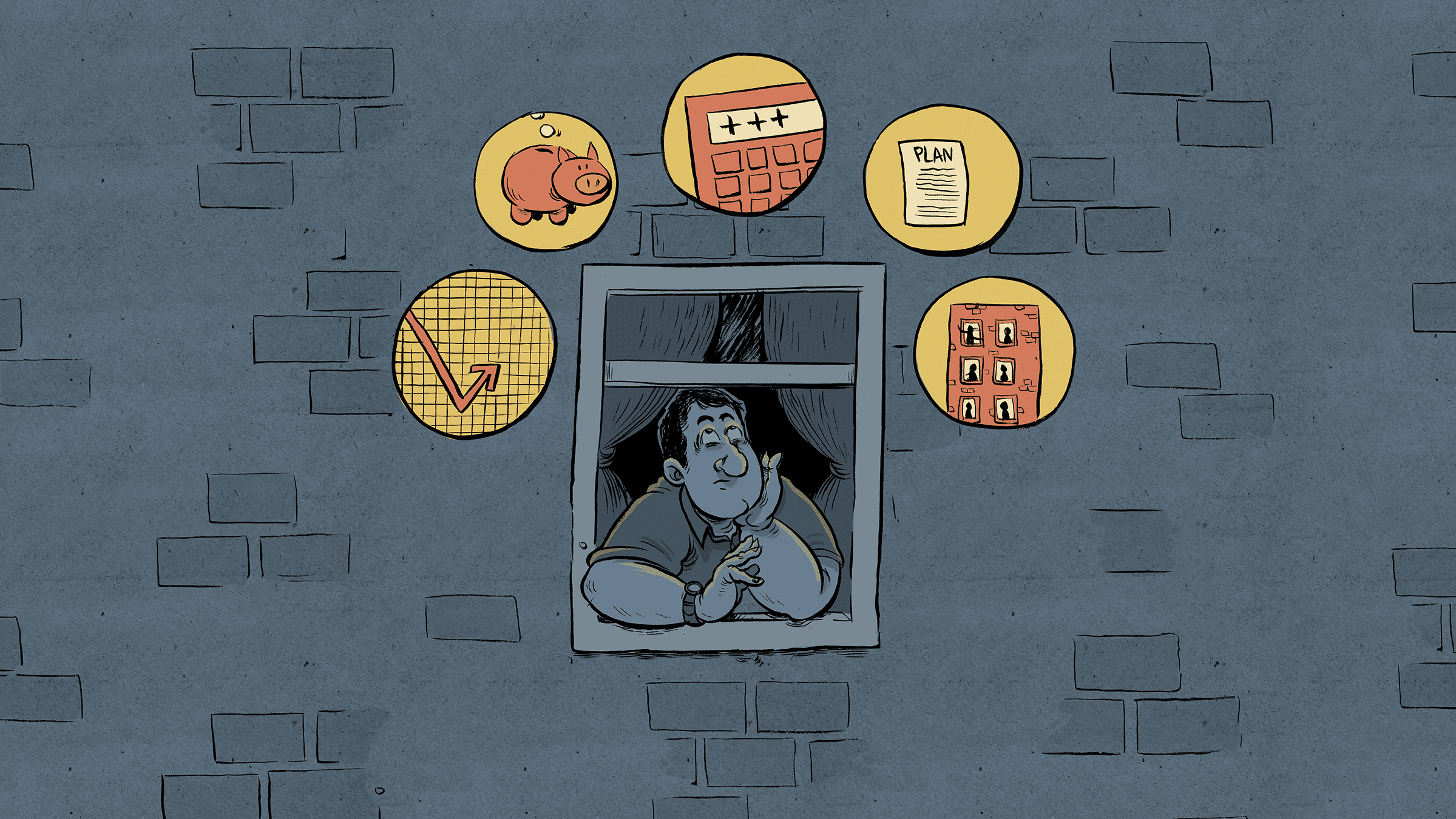 illustration of man looking out the window with different financial concerns