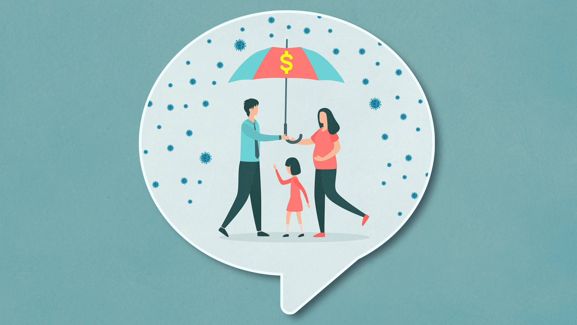 illustration of family holding umbrella with a dollar sign