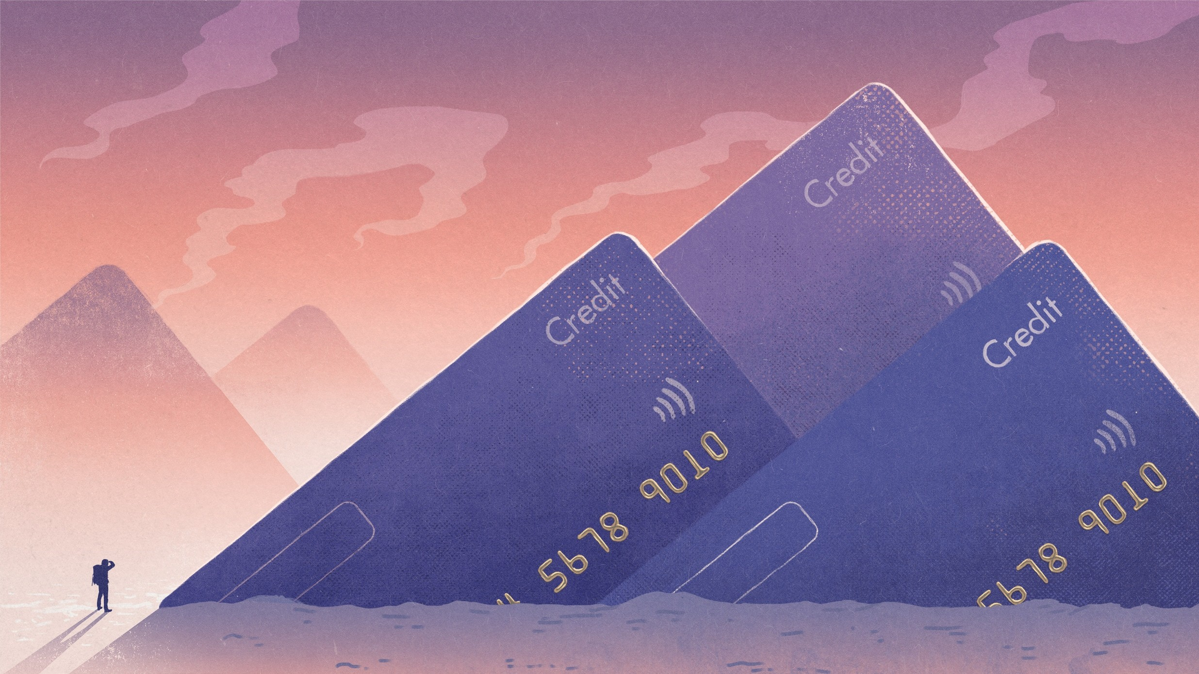 illustration of man facing rows of large credit cards