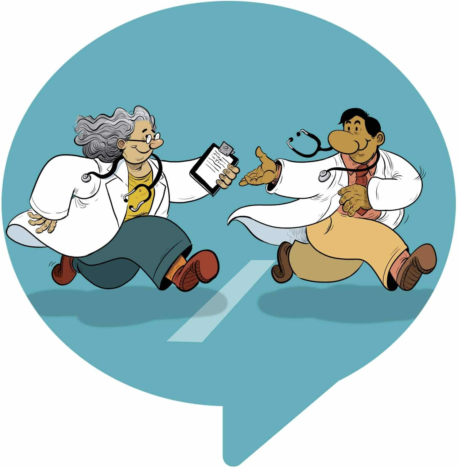 illustration of two physicians running together