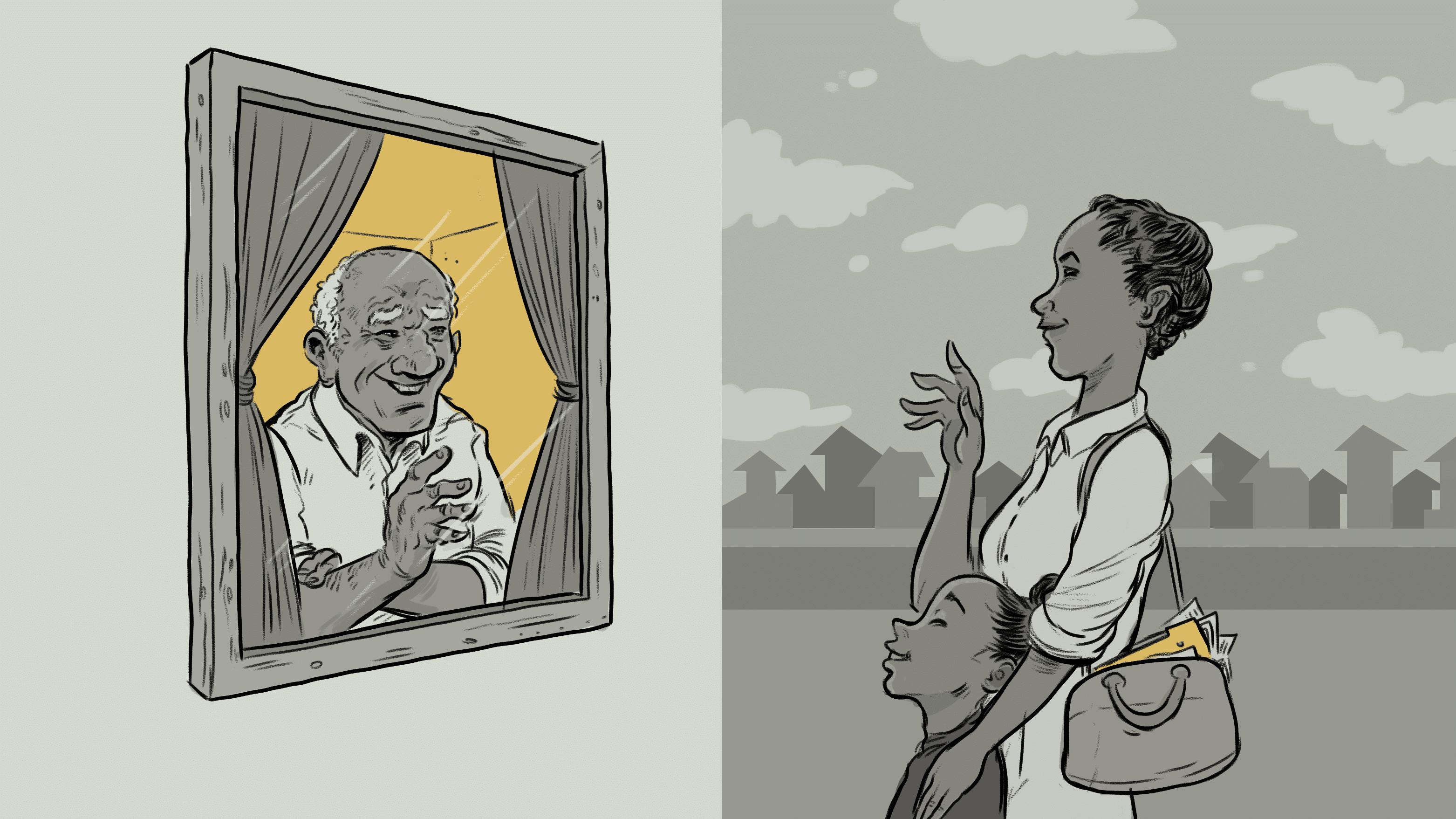 illustration of an elderly man looking out the window to his family