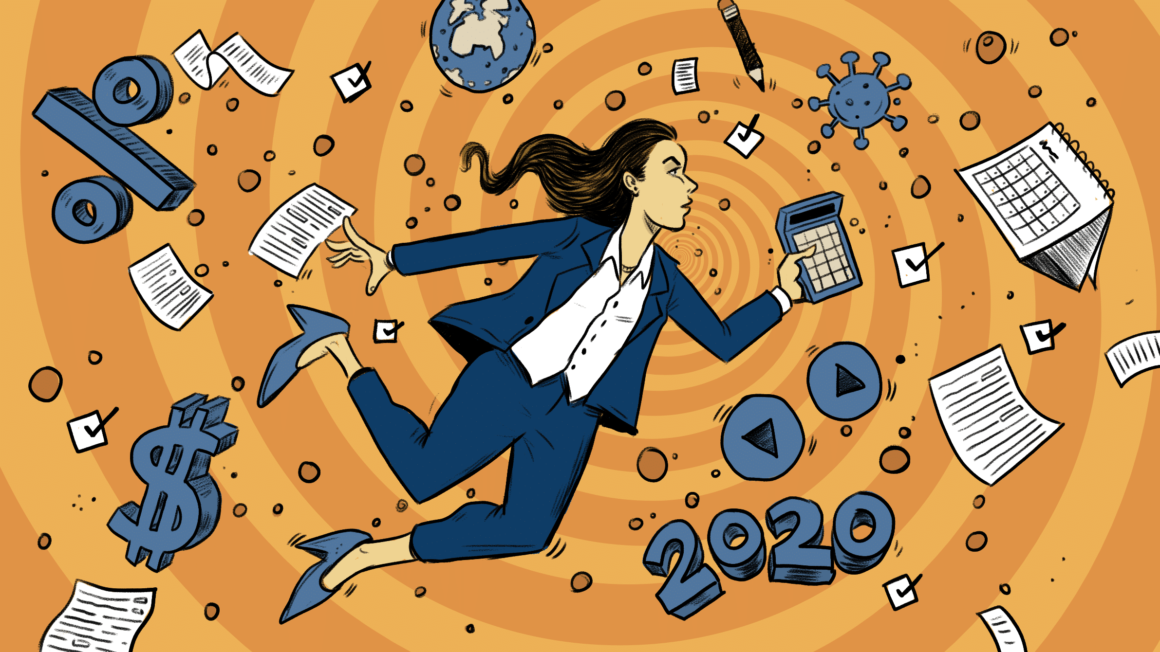 illustration of woman surrounded by tax related images