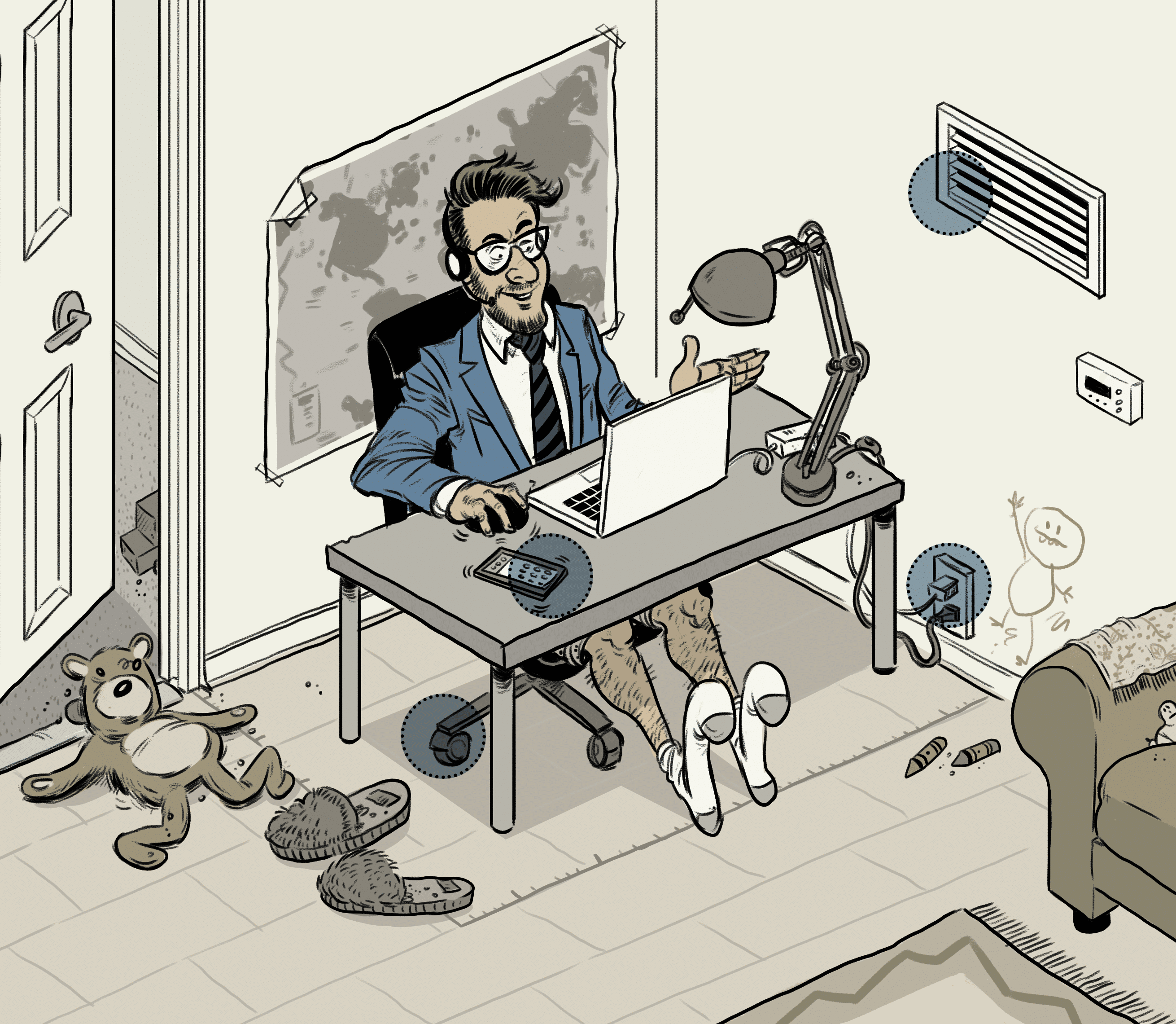 illustration of man working in his home office