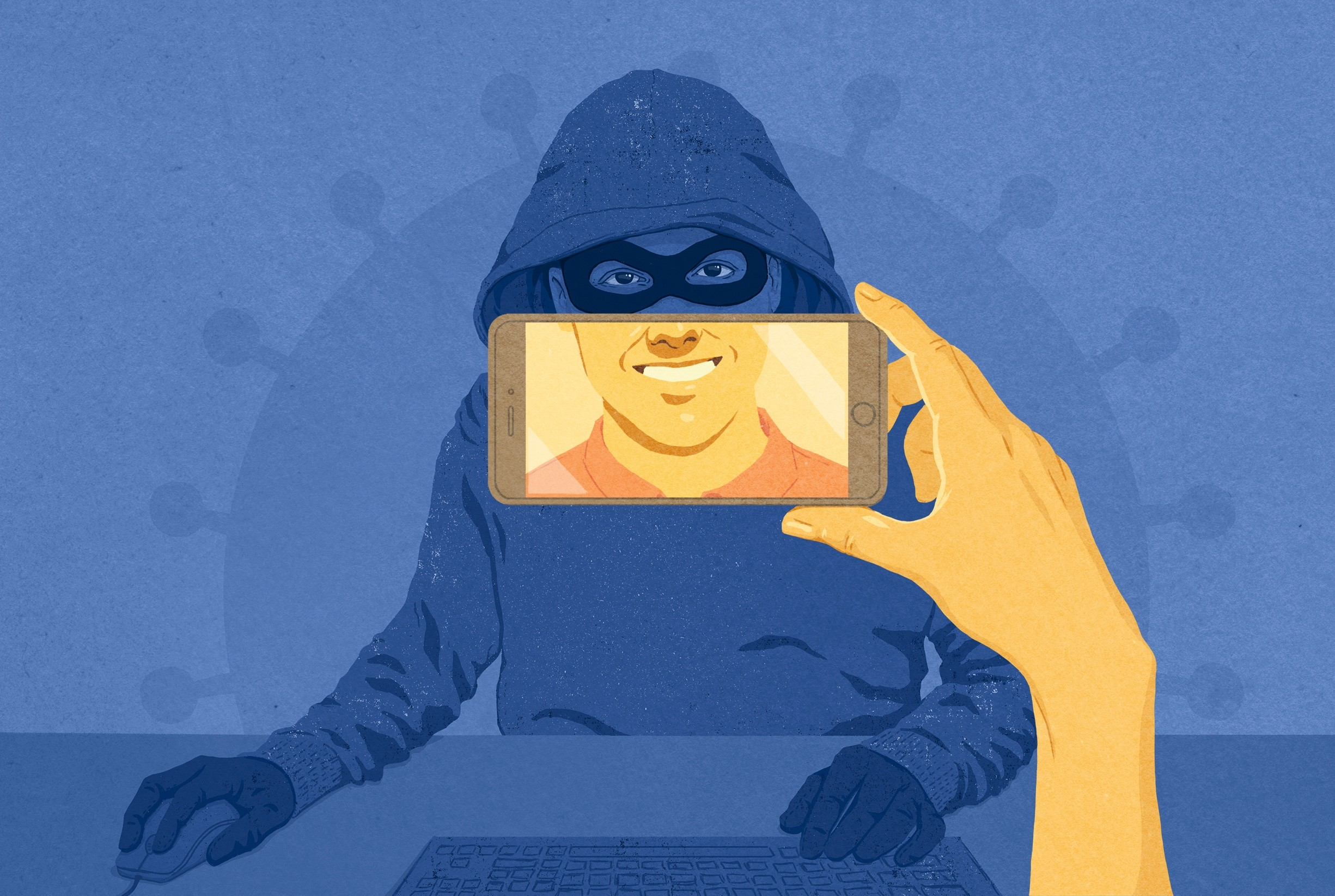 illustration of hooded man with a phone display with a smile placed over his mouth
