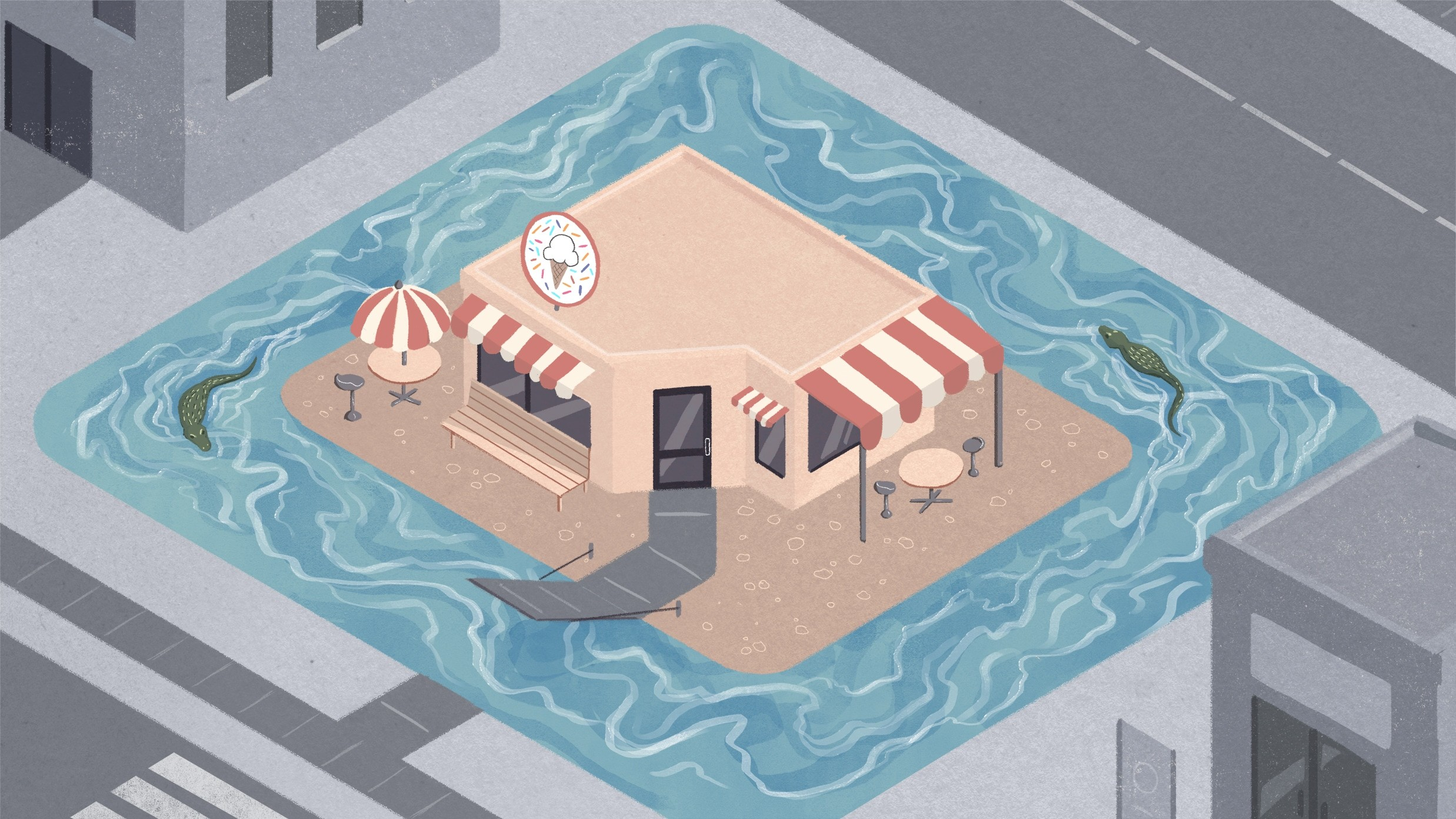 illustration of store in the middle of water
