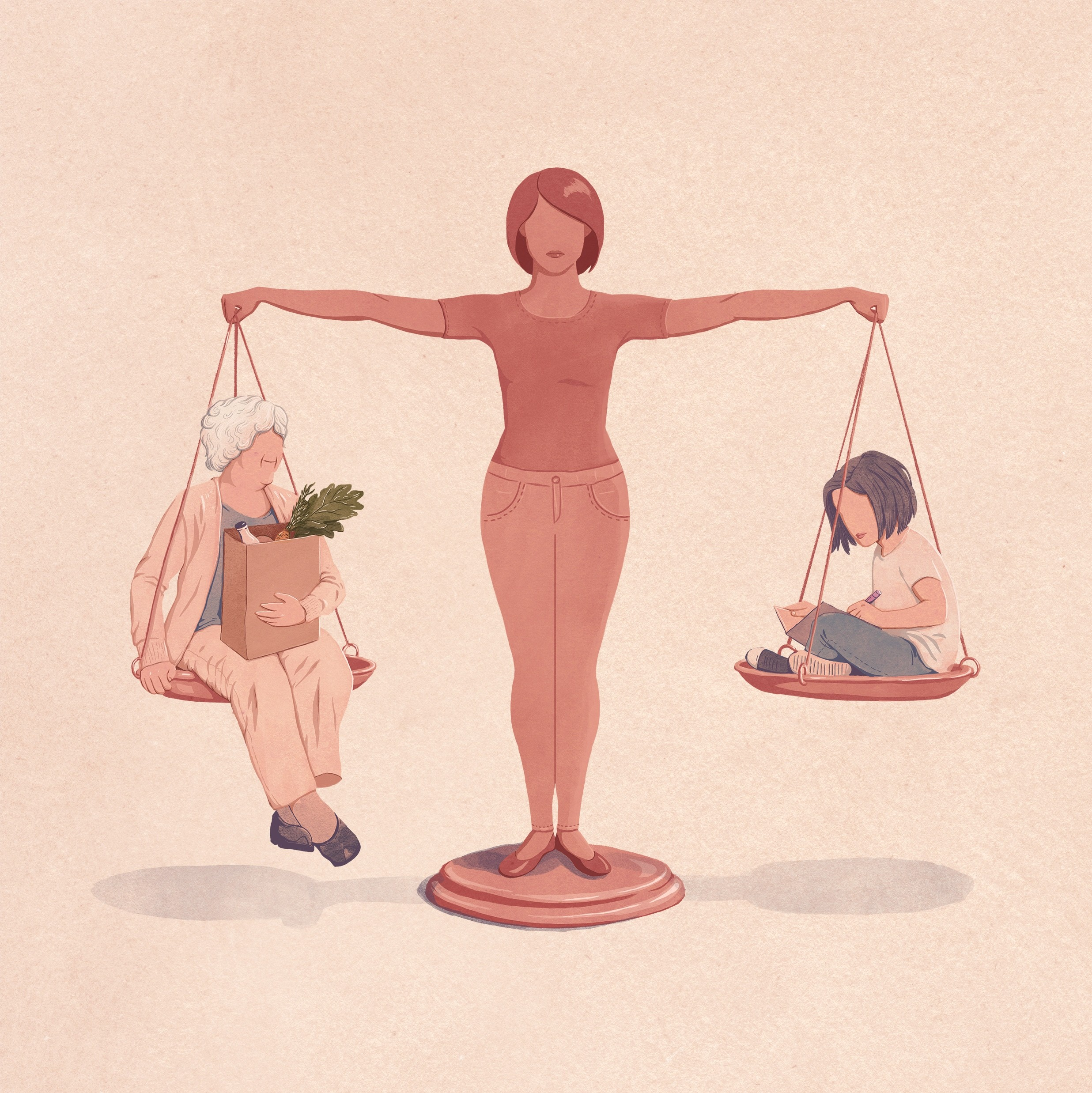 illustration of a woman balancing older and younger family member on each side