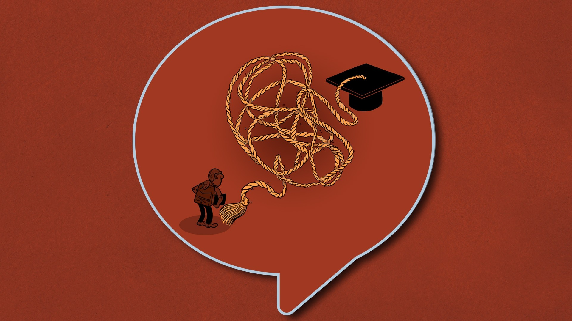 illustration of man chasing after graduation hat