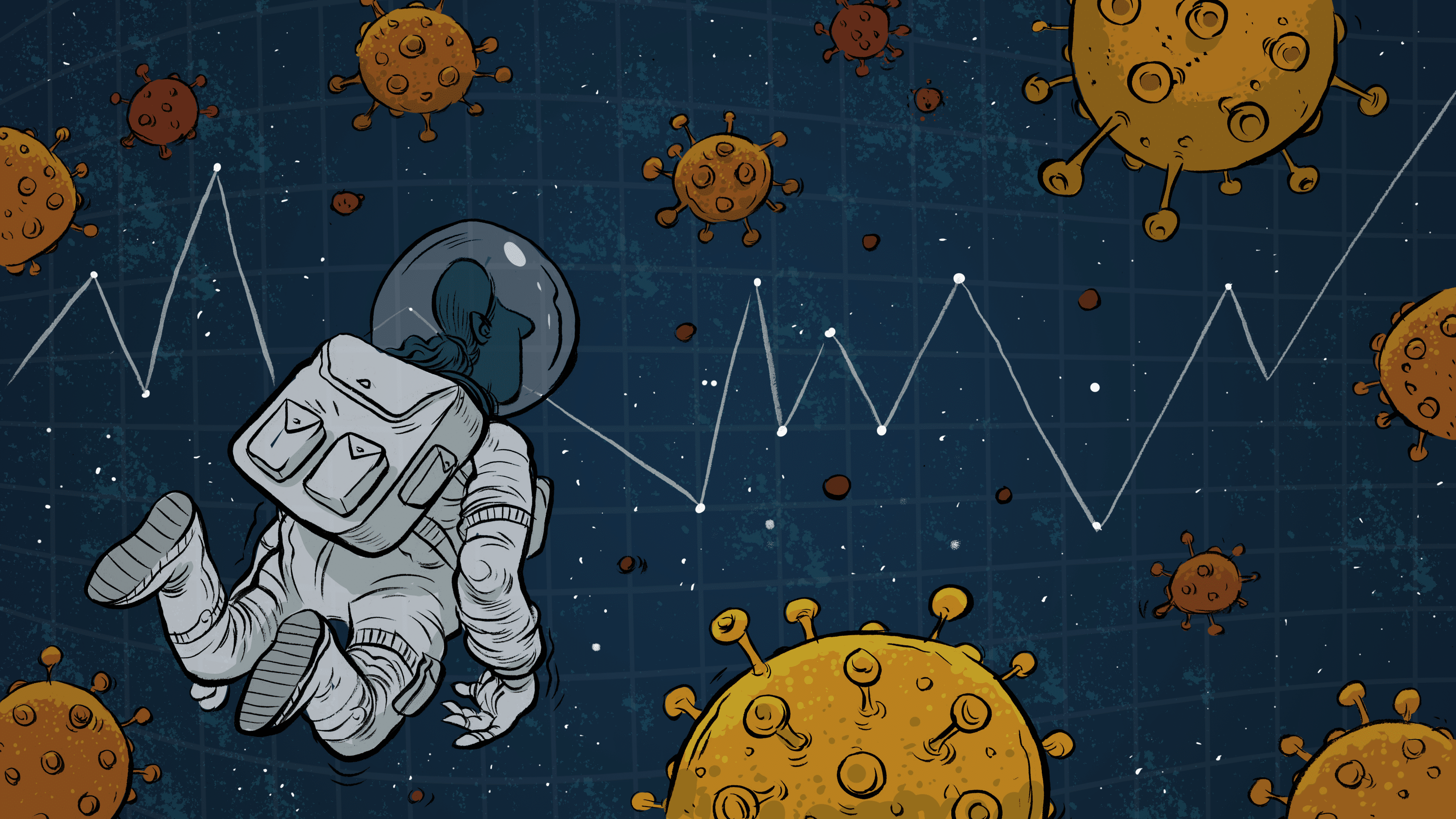 illustration of astronaut exploring through covid-19