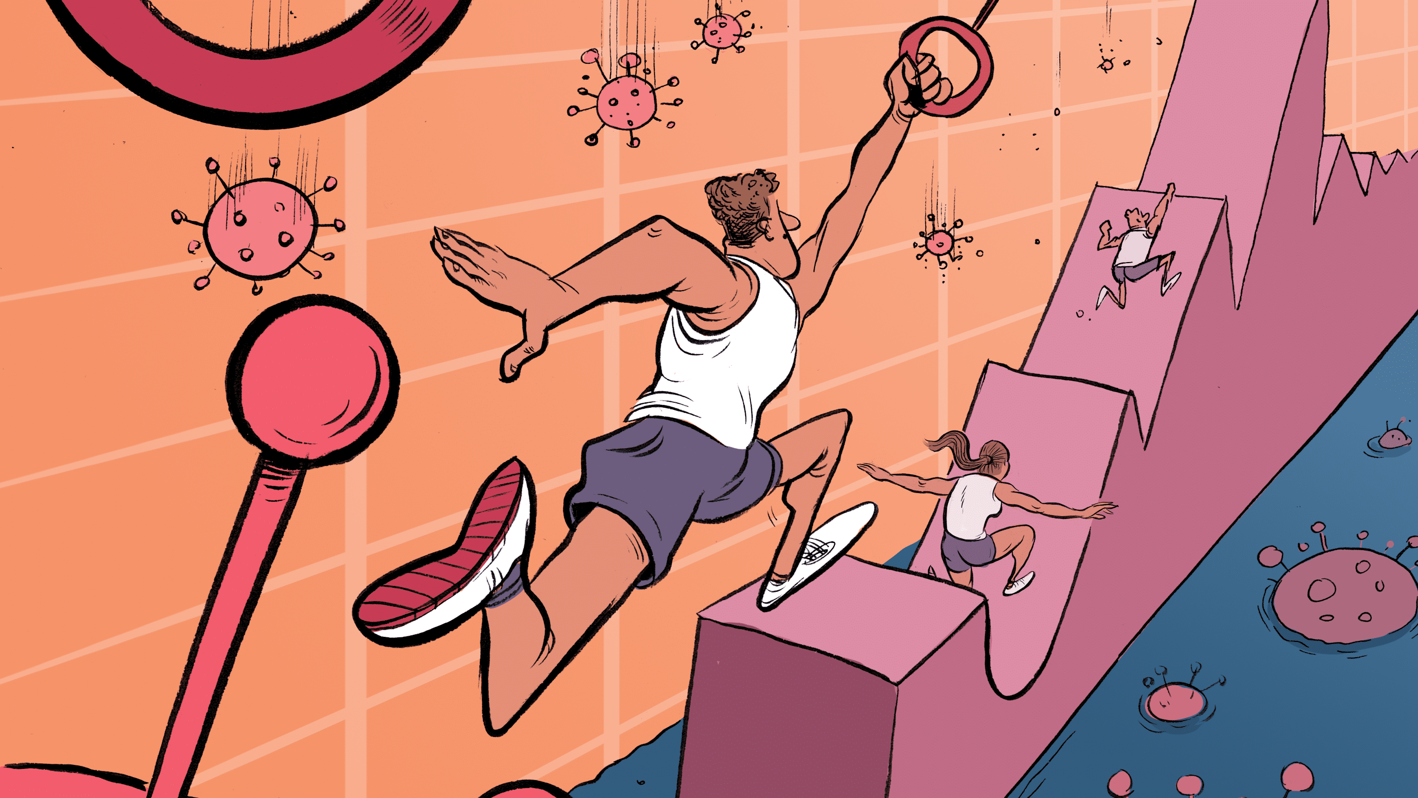 illustration of millennials in an obstacle course