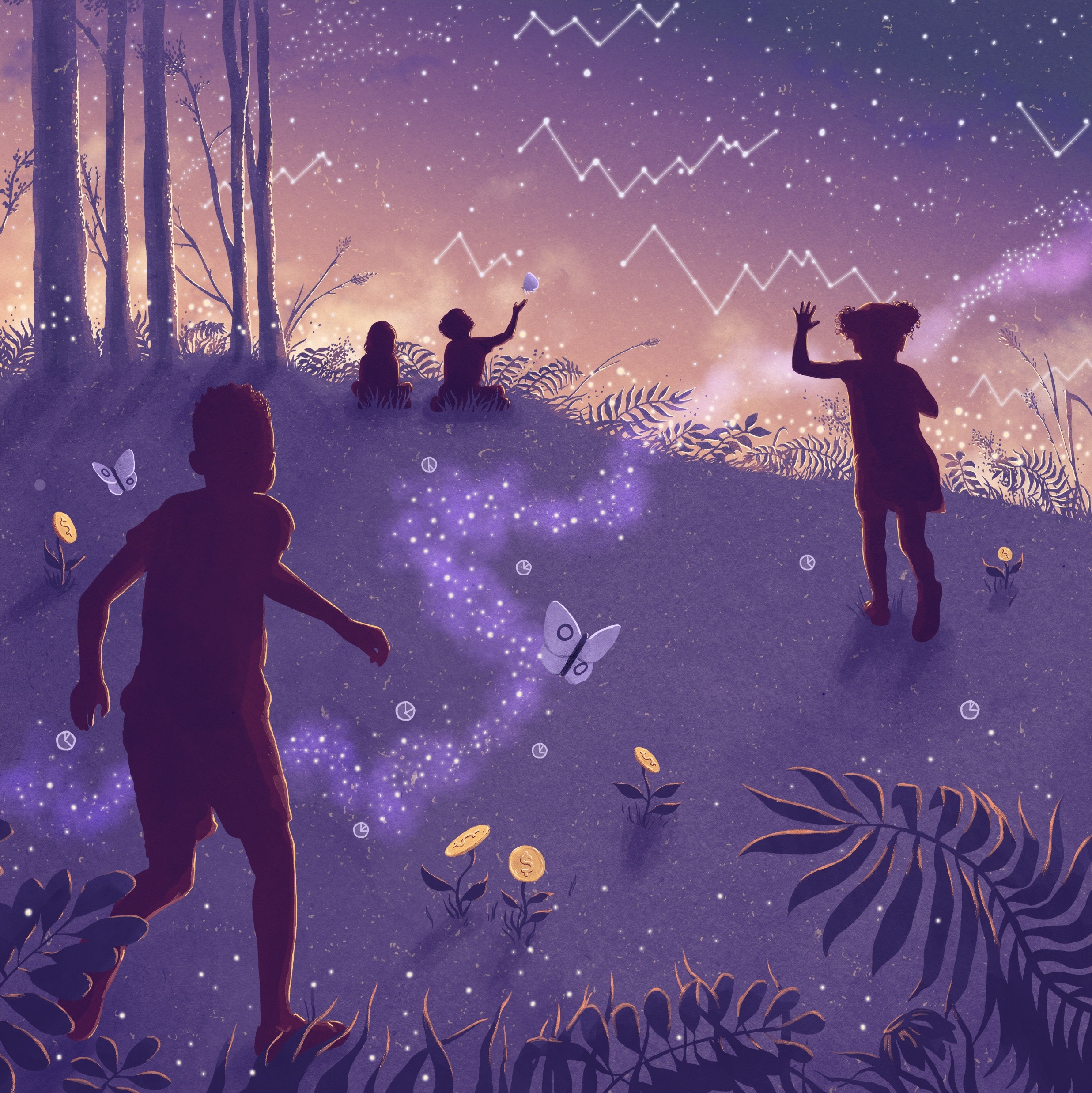 illustration of children playing in a money forest